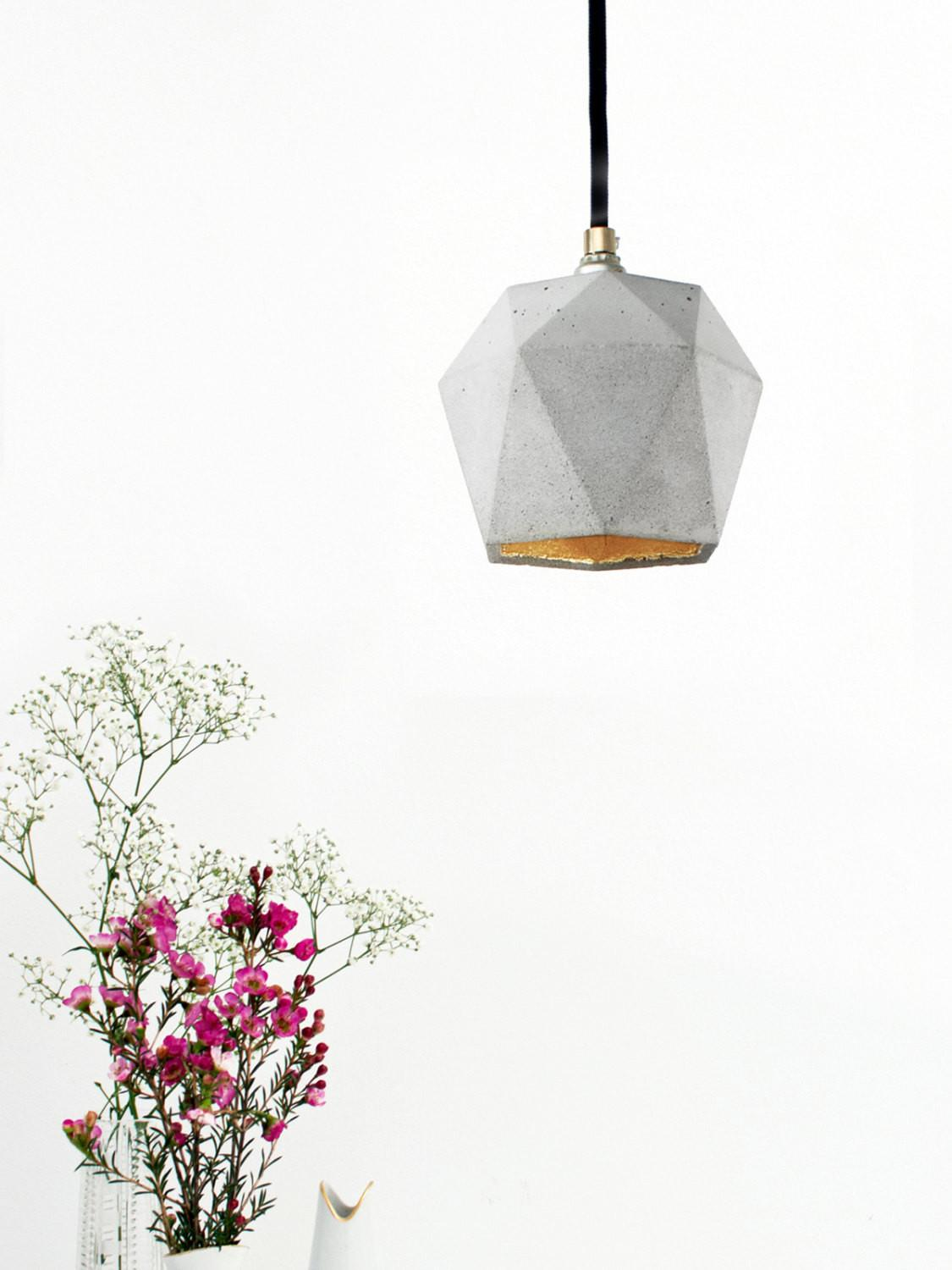 Concrete Hanging Lamp Gold Triangulated