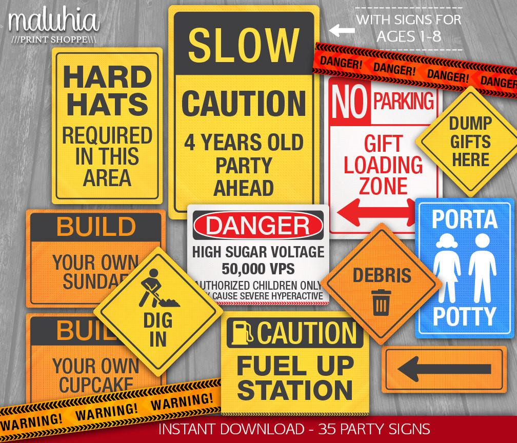 Construction Party Signs Instant