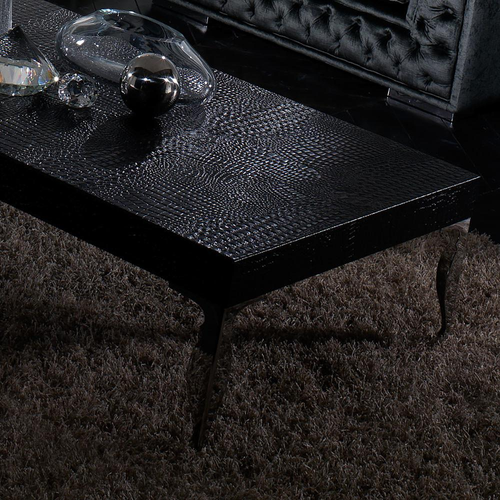 Contemporary Alligator Embossed Leather Coffee Table
