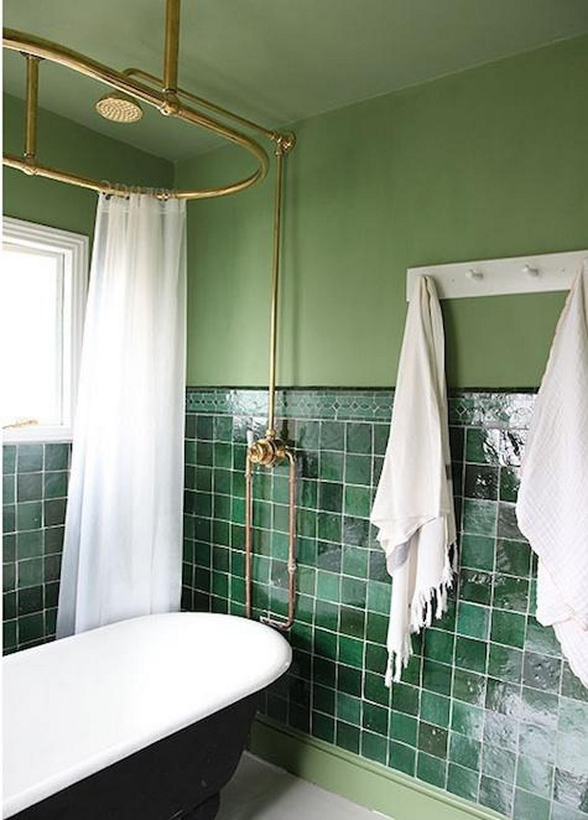 Contemporary Bathroom Green Wall Tiles