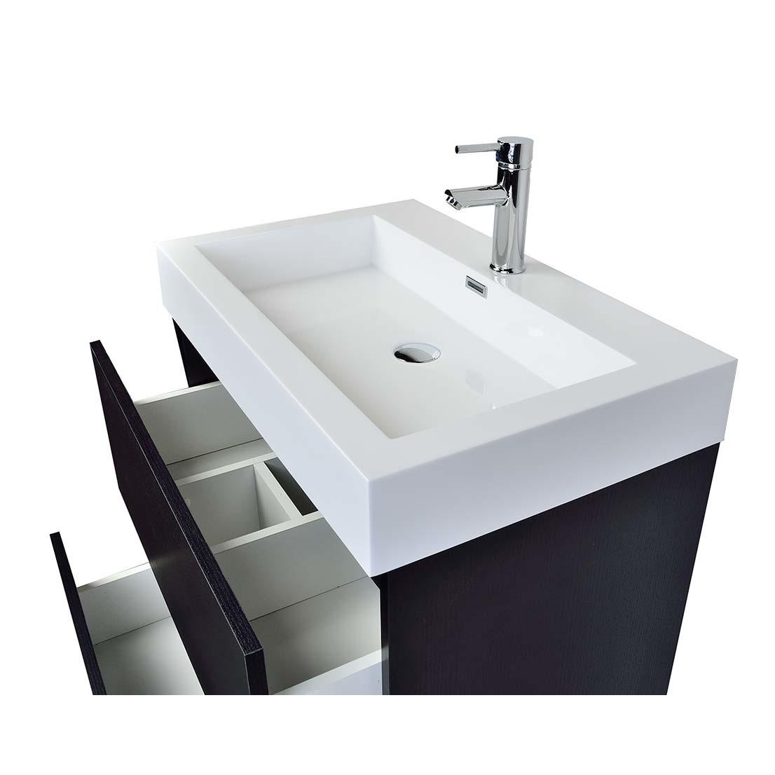 Contemporary Bathroom Vanity Black Ly750