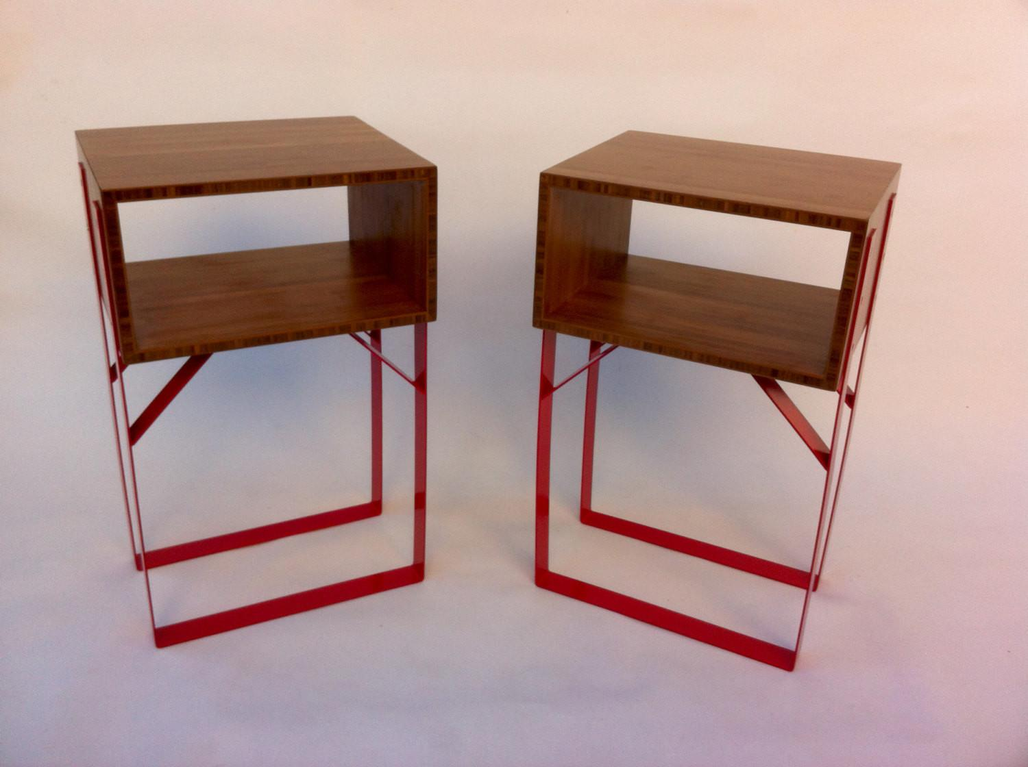 Contemporary Bedside Side Table Open Mid Century Style Box