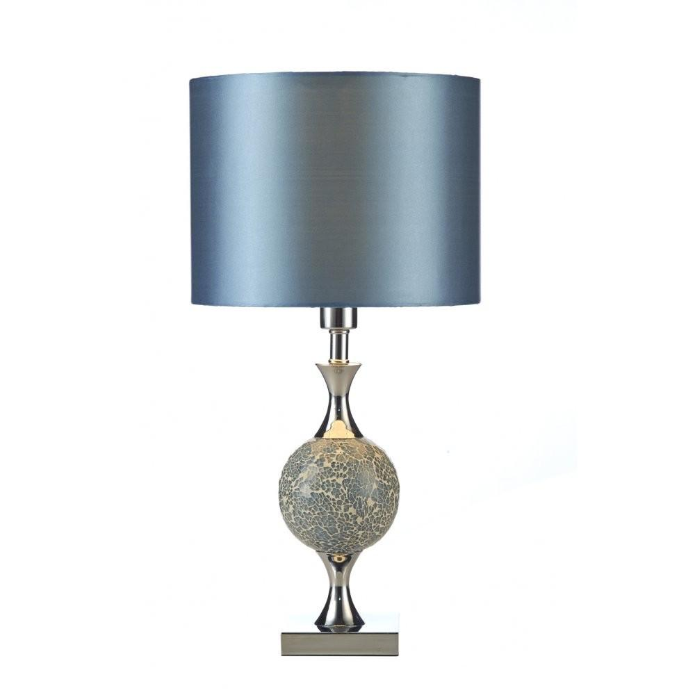 Contemporary Chrome Blue Mosaic Table Lamp Shade