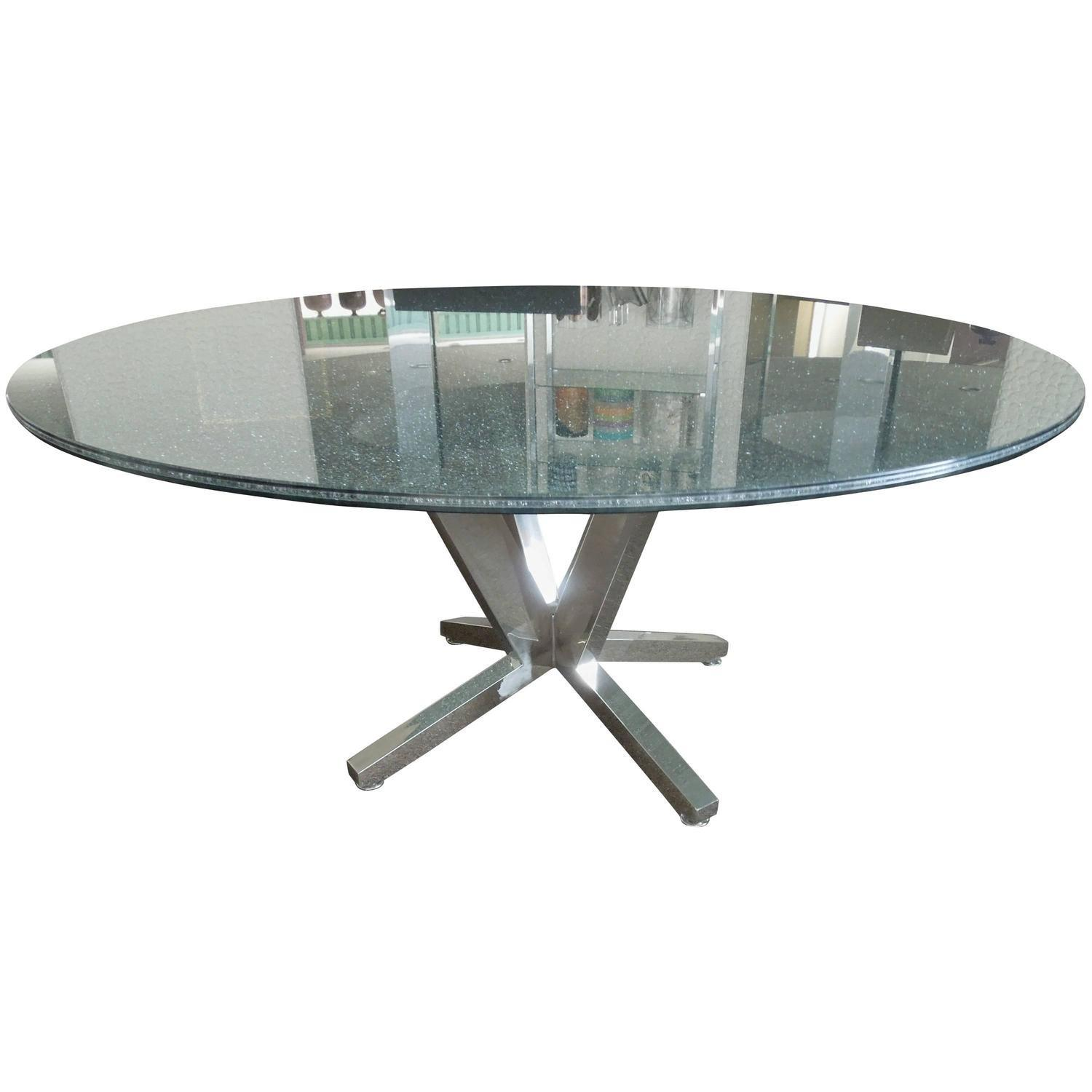 Contemporary Crackle Glass Chrome Sculptural Dining