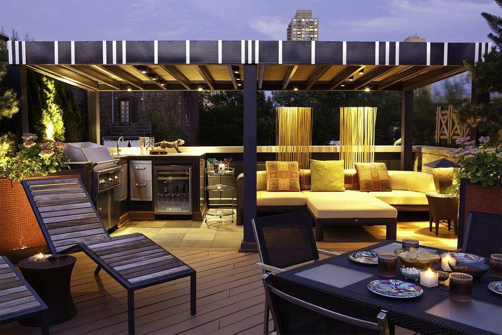 Contemporary Deck Outdoor Kitchen Fire Pit
