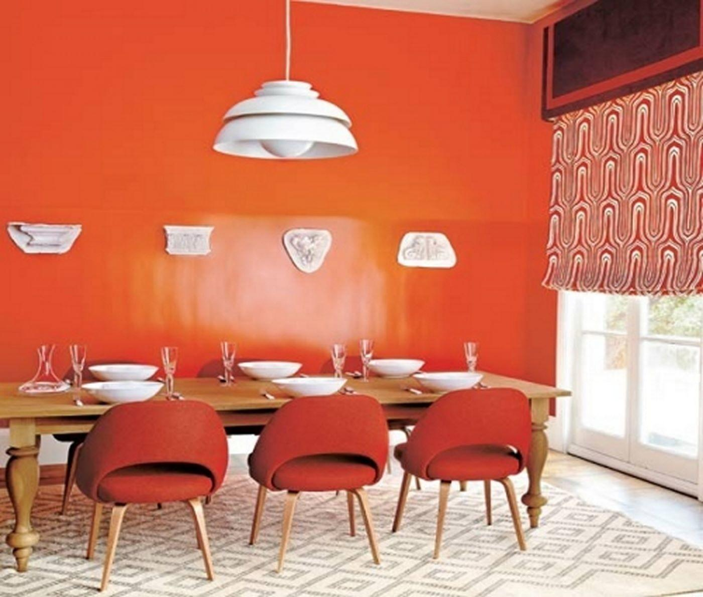 Contemporary Dining Room Orange Wall Paint Red Chairs