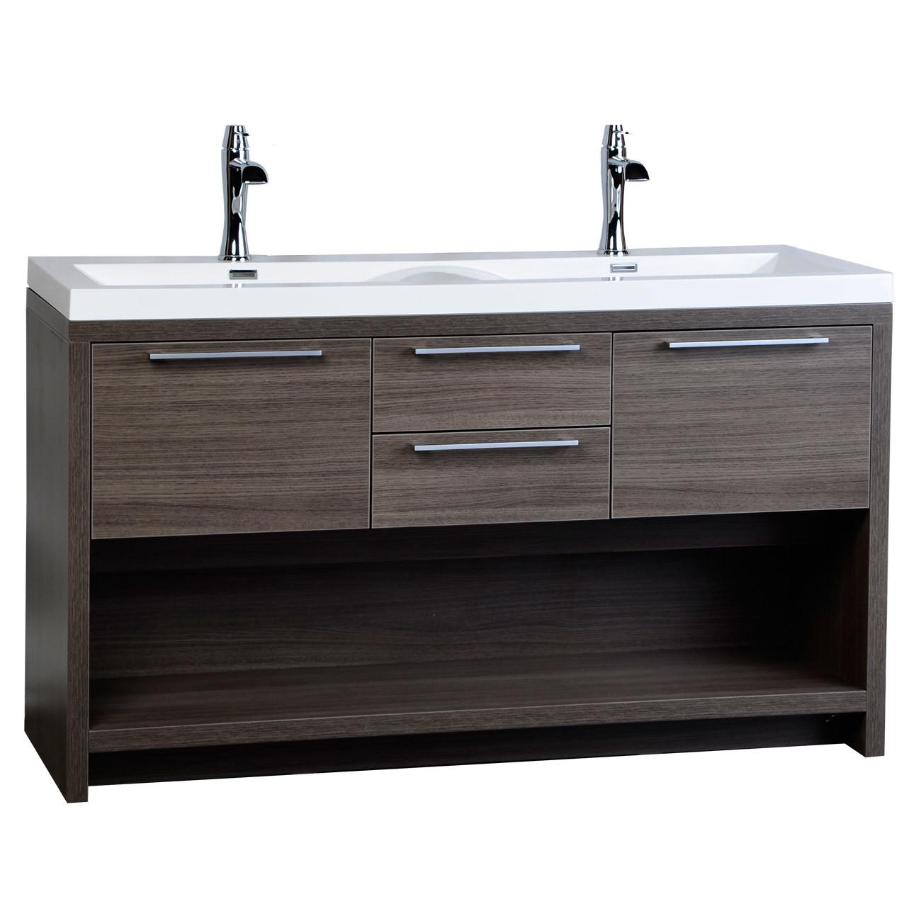 Contemporary Double Vanity Set Wavy Sink Grey Oak