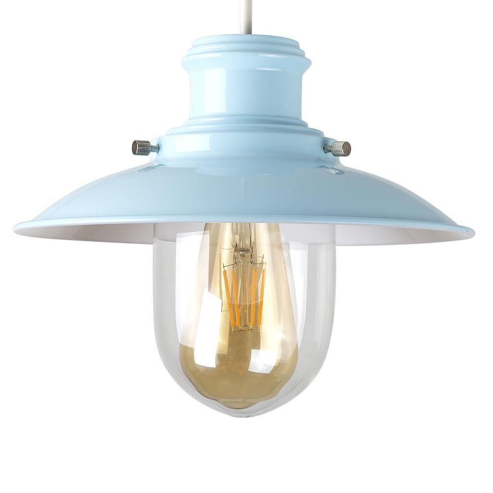 Contemporary Duck Egg Blue Fishermans Ceiling Light