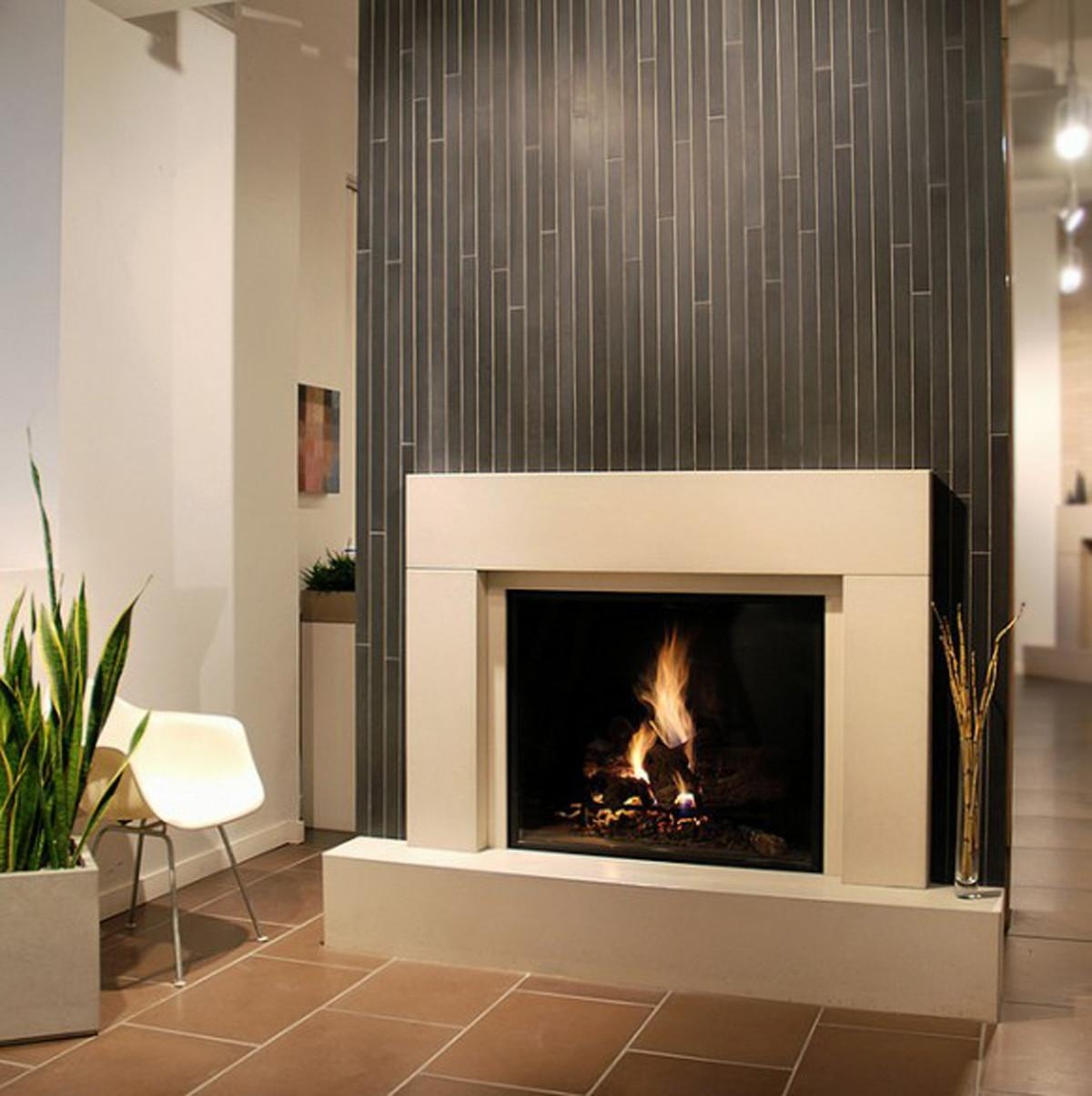 Contemporary Fireplace Designs Above Ward Log Homes