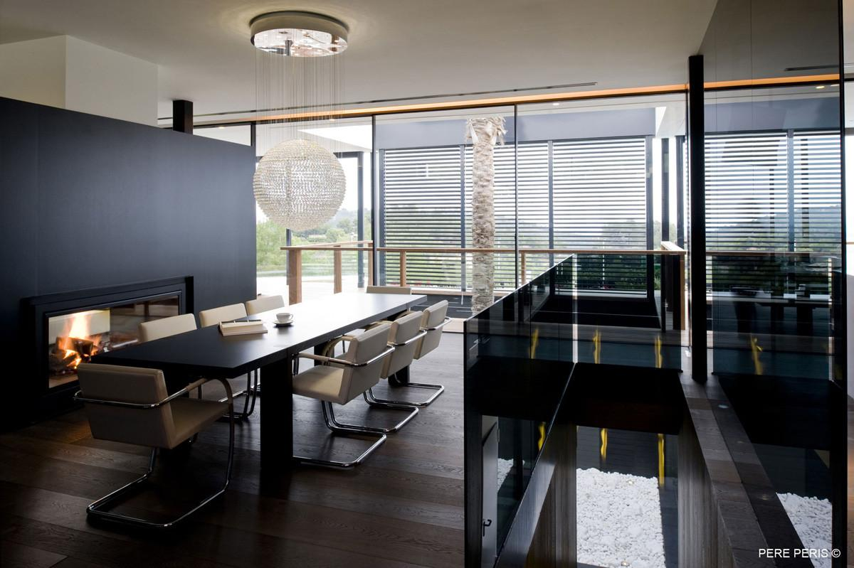 Contemporary Fireplace Dining Table Lighting Stylish