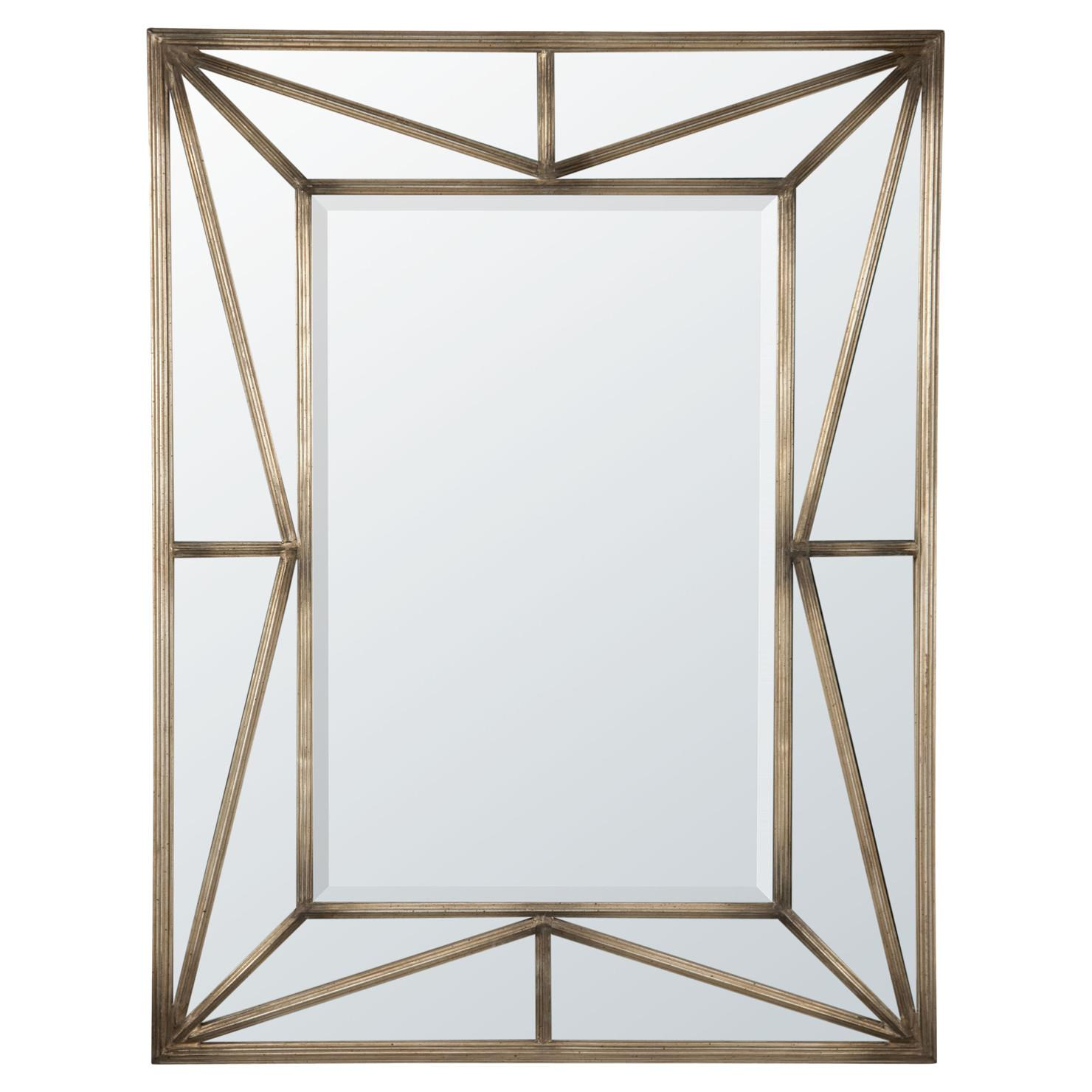 Contemporary Geometric Metal Framed Mirror Antique Gold