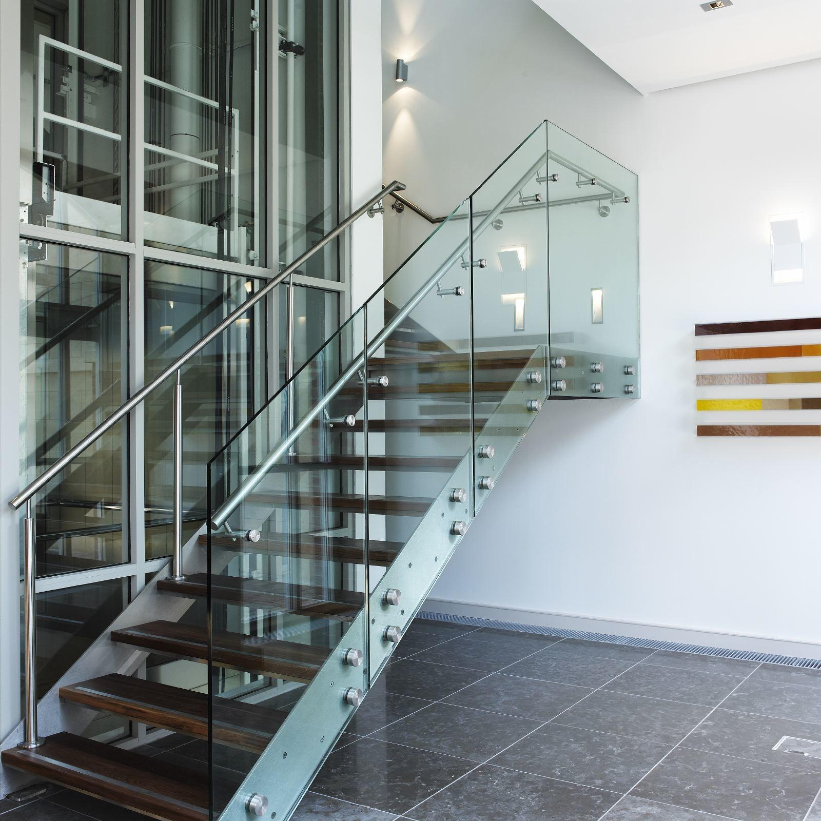 Contemporary Glass Staircase Feat Wall Light Fixtures Also