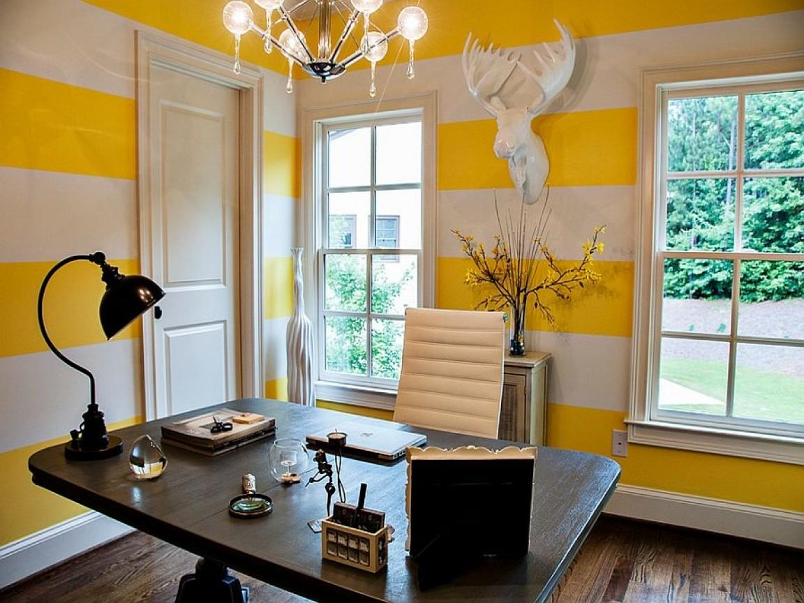 Contemporary Home Office White Yellow Striped