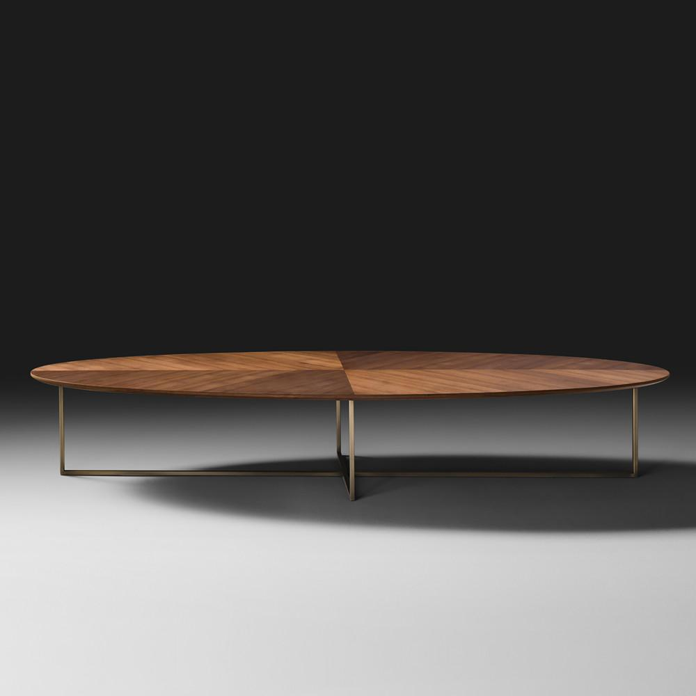 Contemporary Italian Walnut Oval Coffee Table