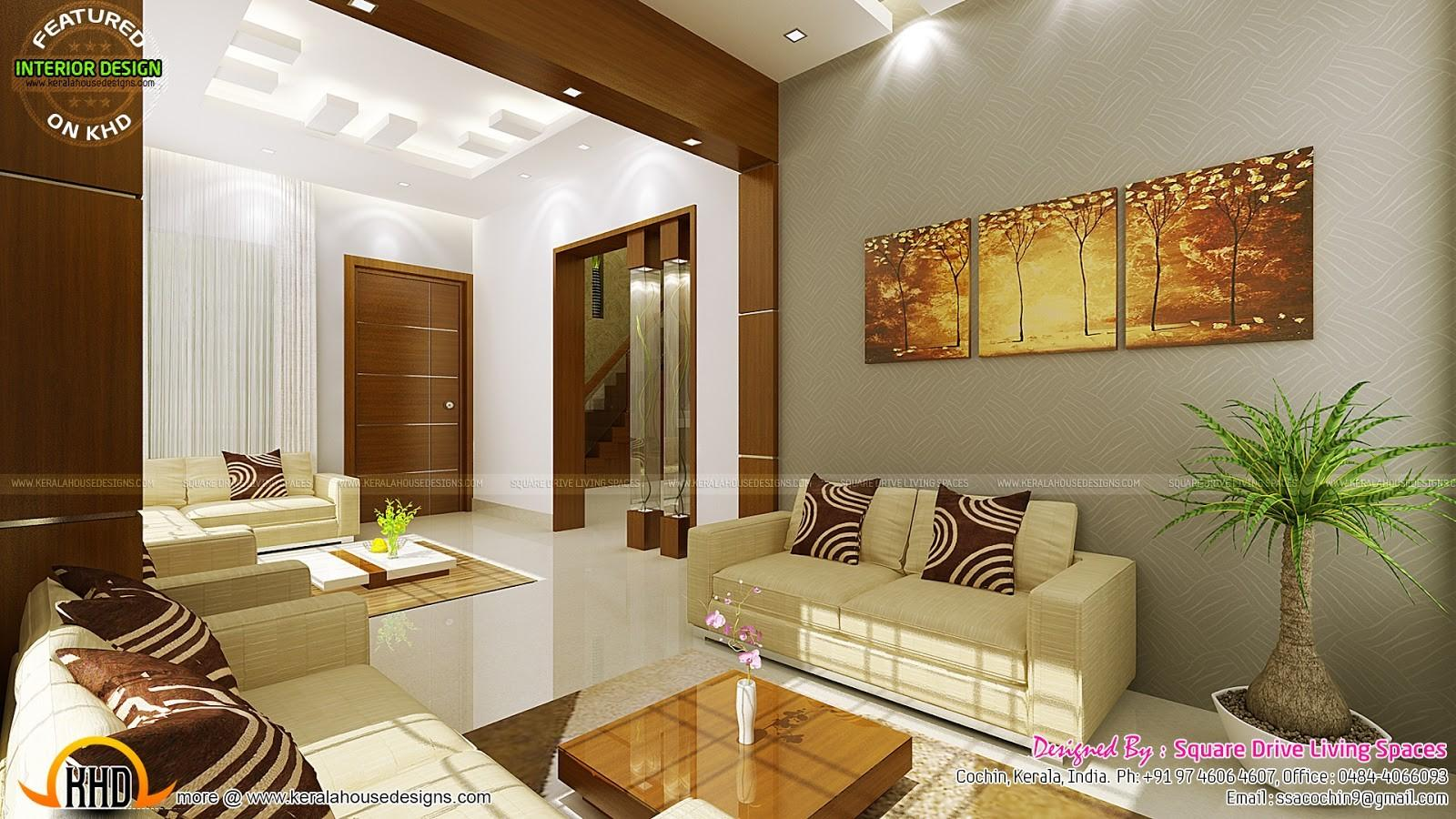 Contemporary Kitchen Dining Living Room Kerala Home