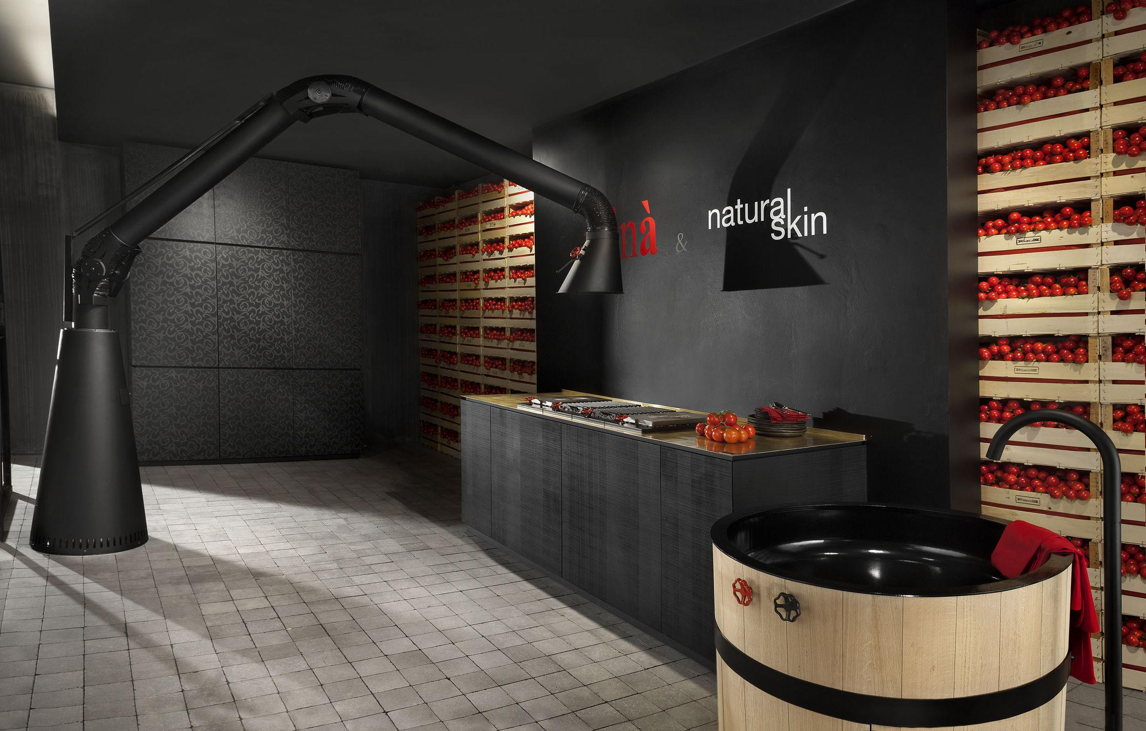 Contemporary Kitchen Lacquered Natural Skin Black