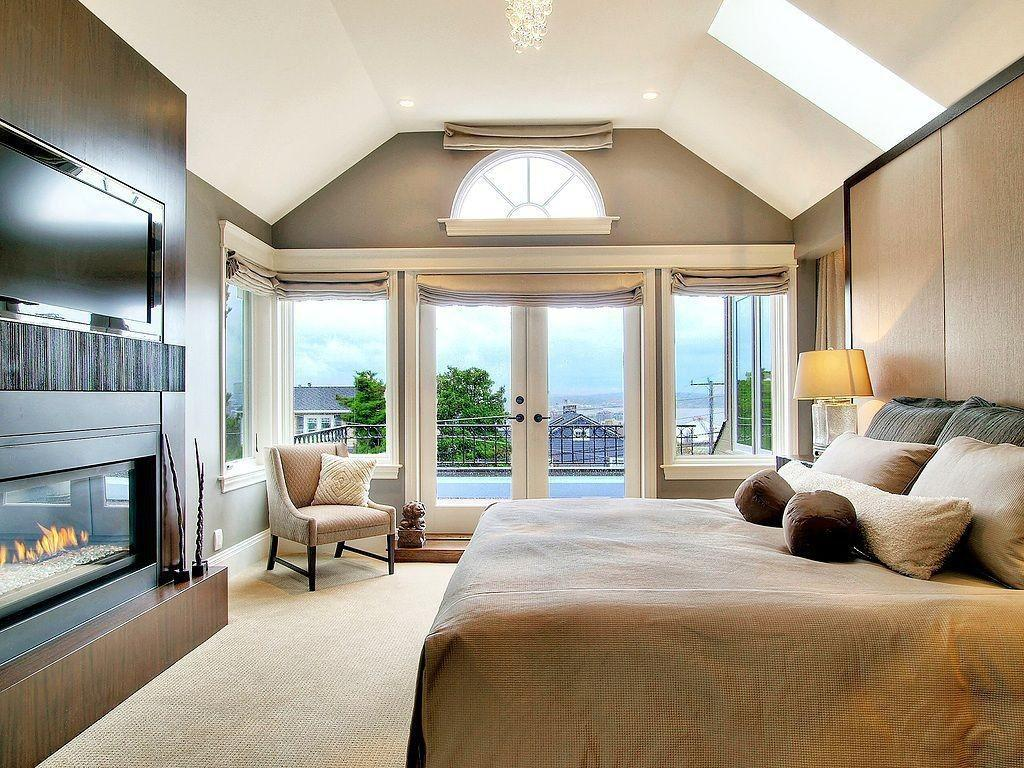 Contemporary Master Bedroom Chandelier Carpet