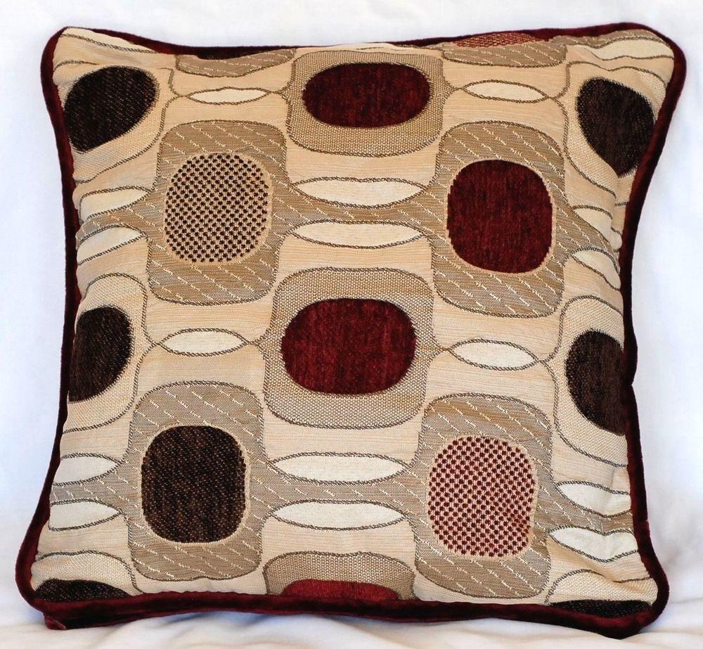 Contemporary Modern Red Decorative Pillow Geometric Square