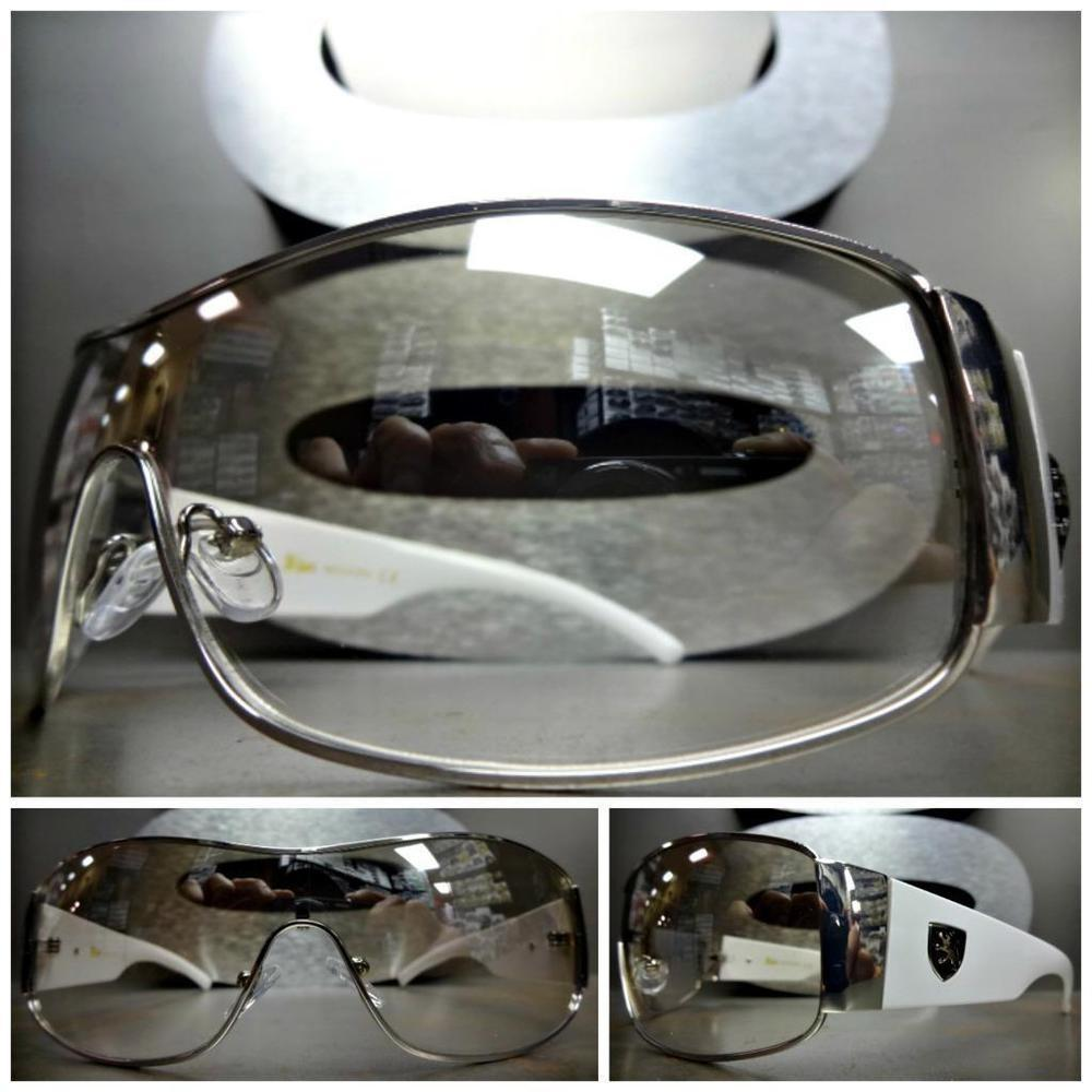 Contemporary Modern Shield Wrap Style Sun Glasses Clear
