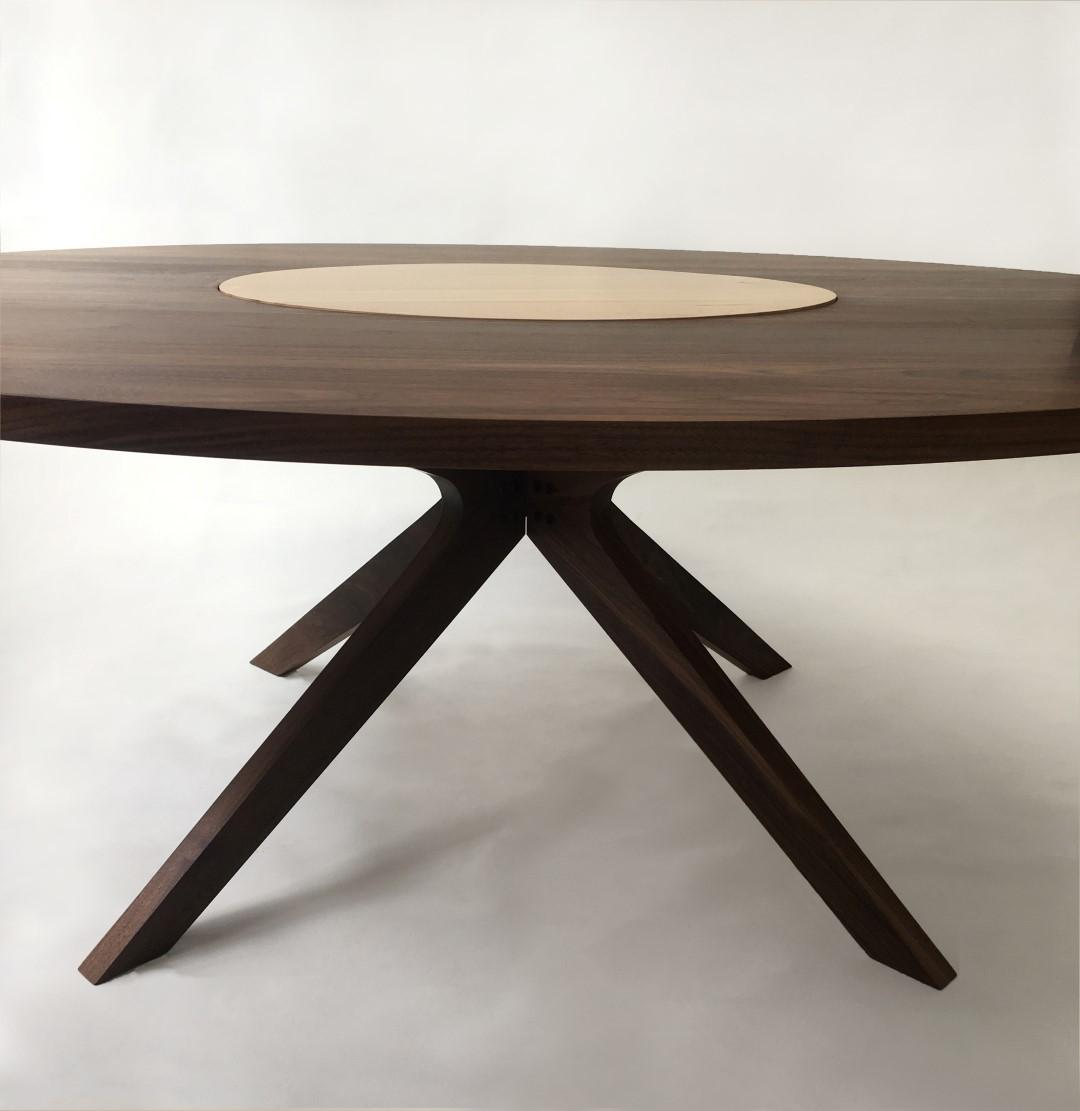 Contemporary Modern Solid Walnut Round Dining Table