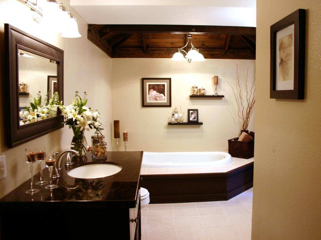 Contemporary Neutral Bathroom Dark Wood Accents