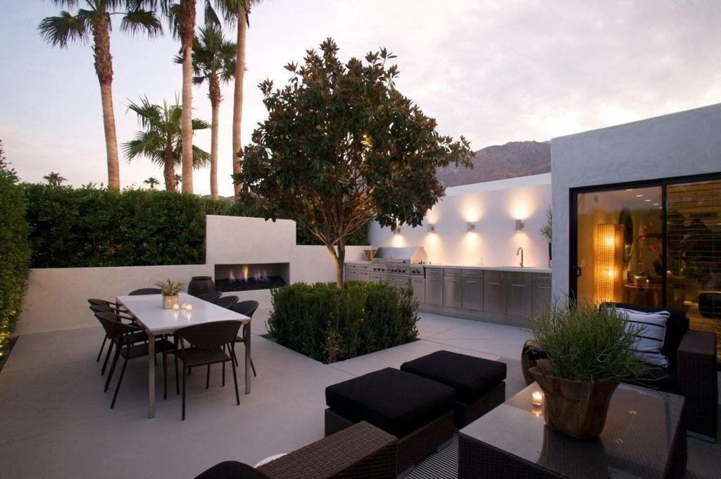 Contemporary Patio Fence Outdoor Fireplace Palm