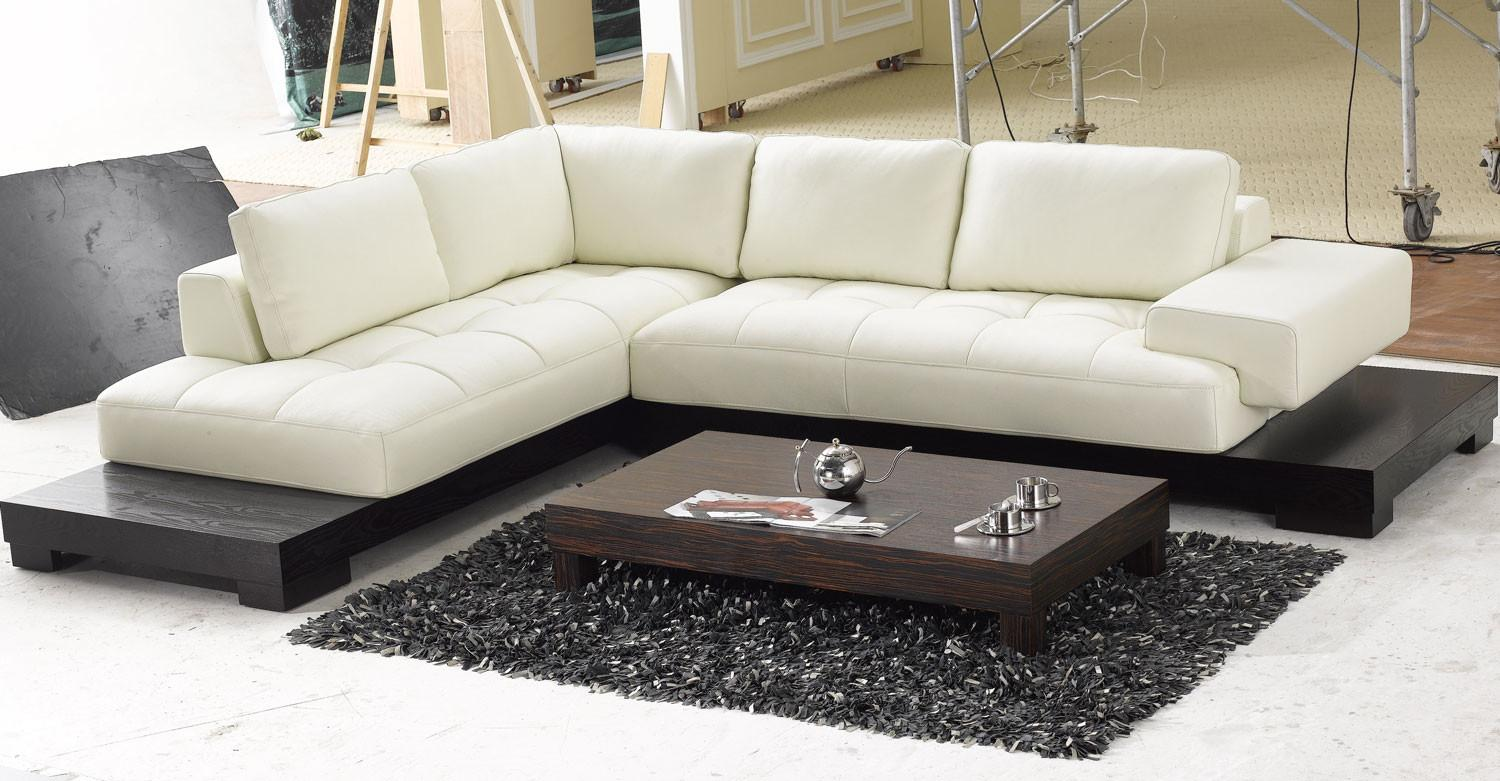 Contemporary Shaped Cream Leather Sectional Sofa