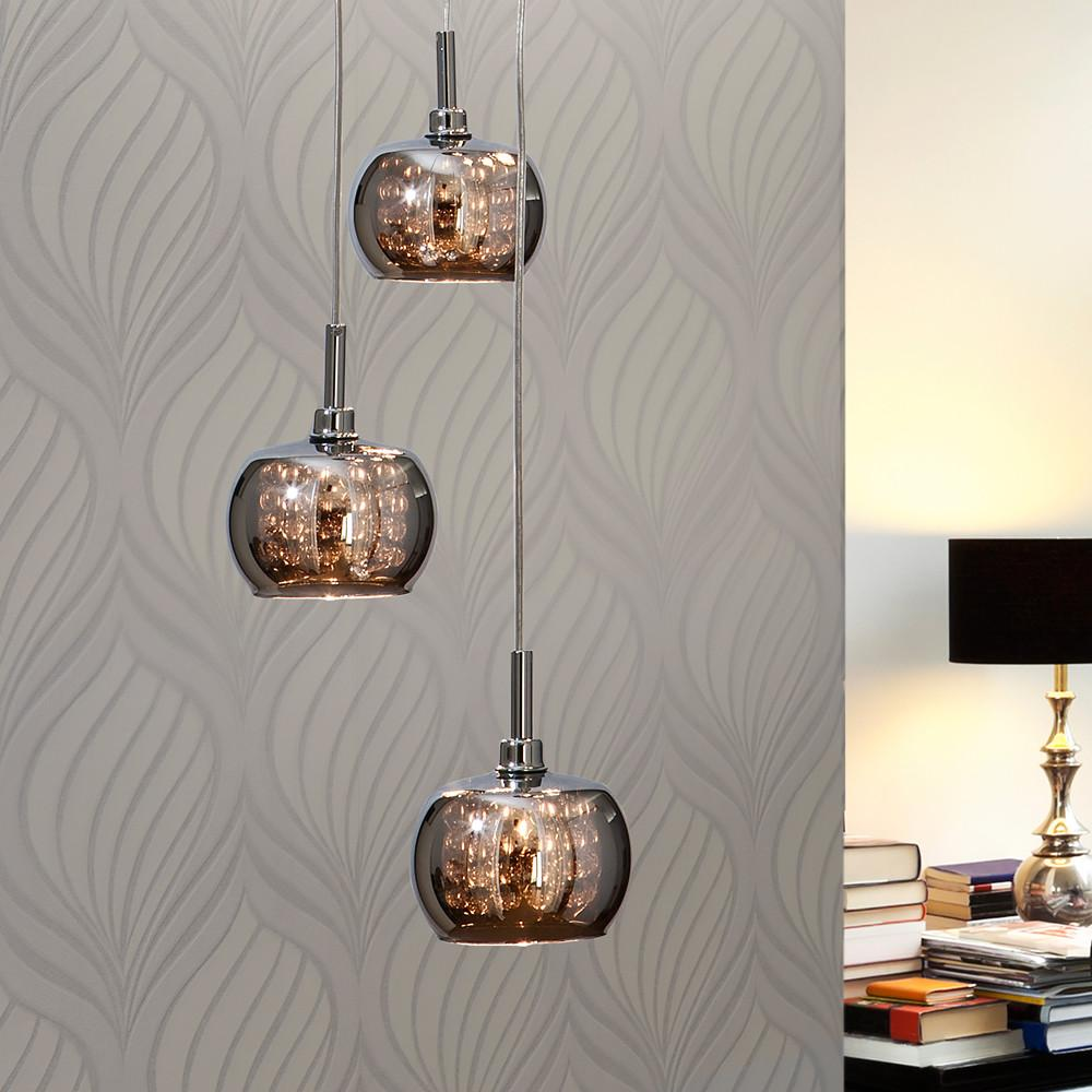 Contemporary Smoked Glass Pendant Light