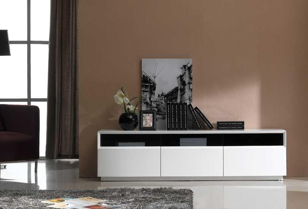 Contemporary Stand Dark Oak White Gloss Finish