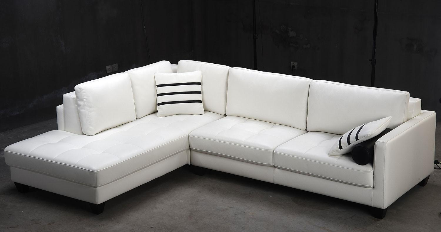 Contemporary White Shaped Leather Sectional Sofa Modern