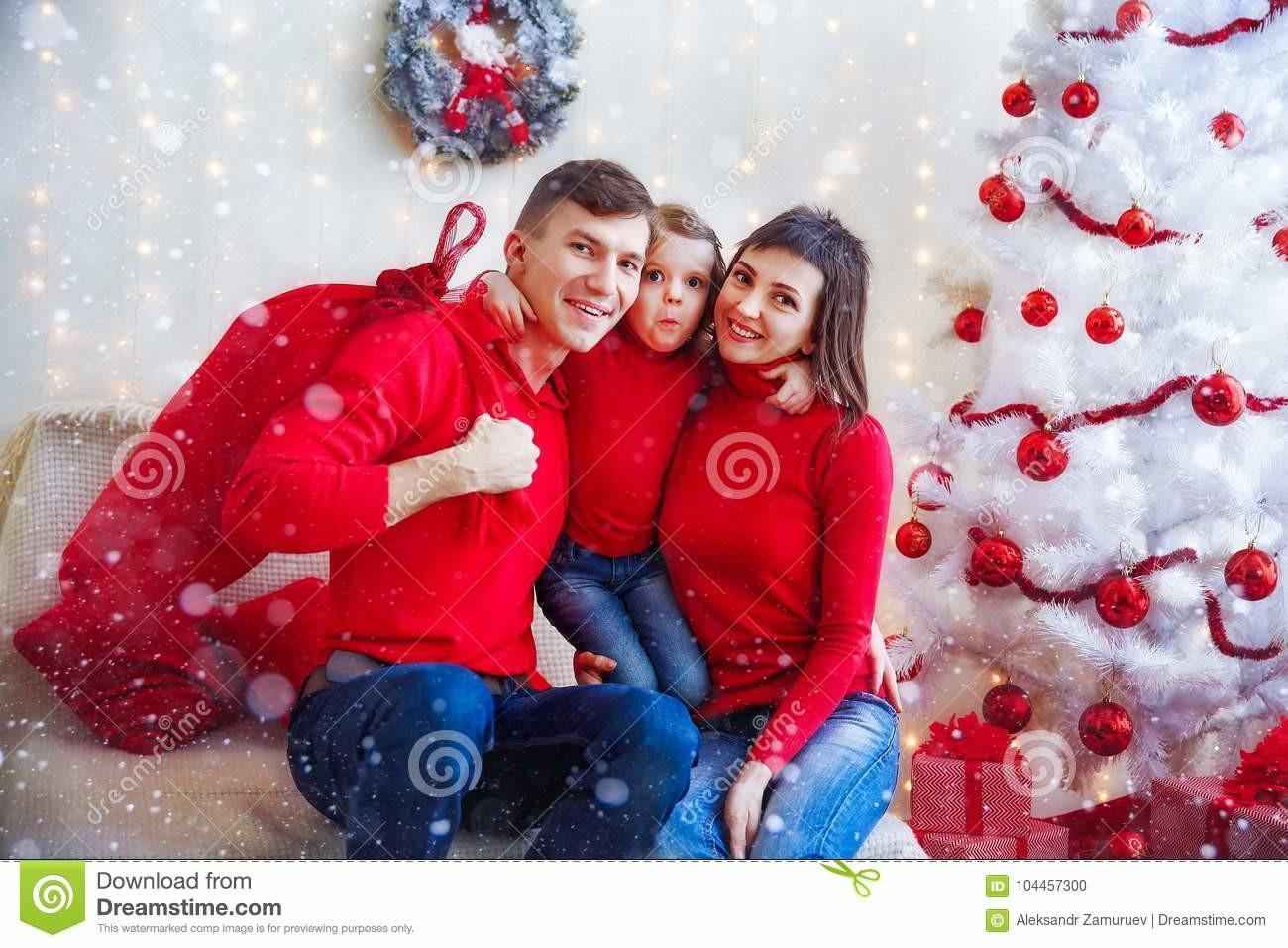 Content Family Red Posing Camera Stock