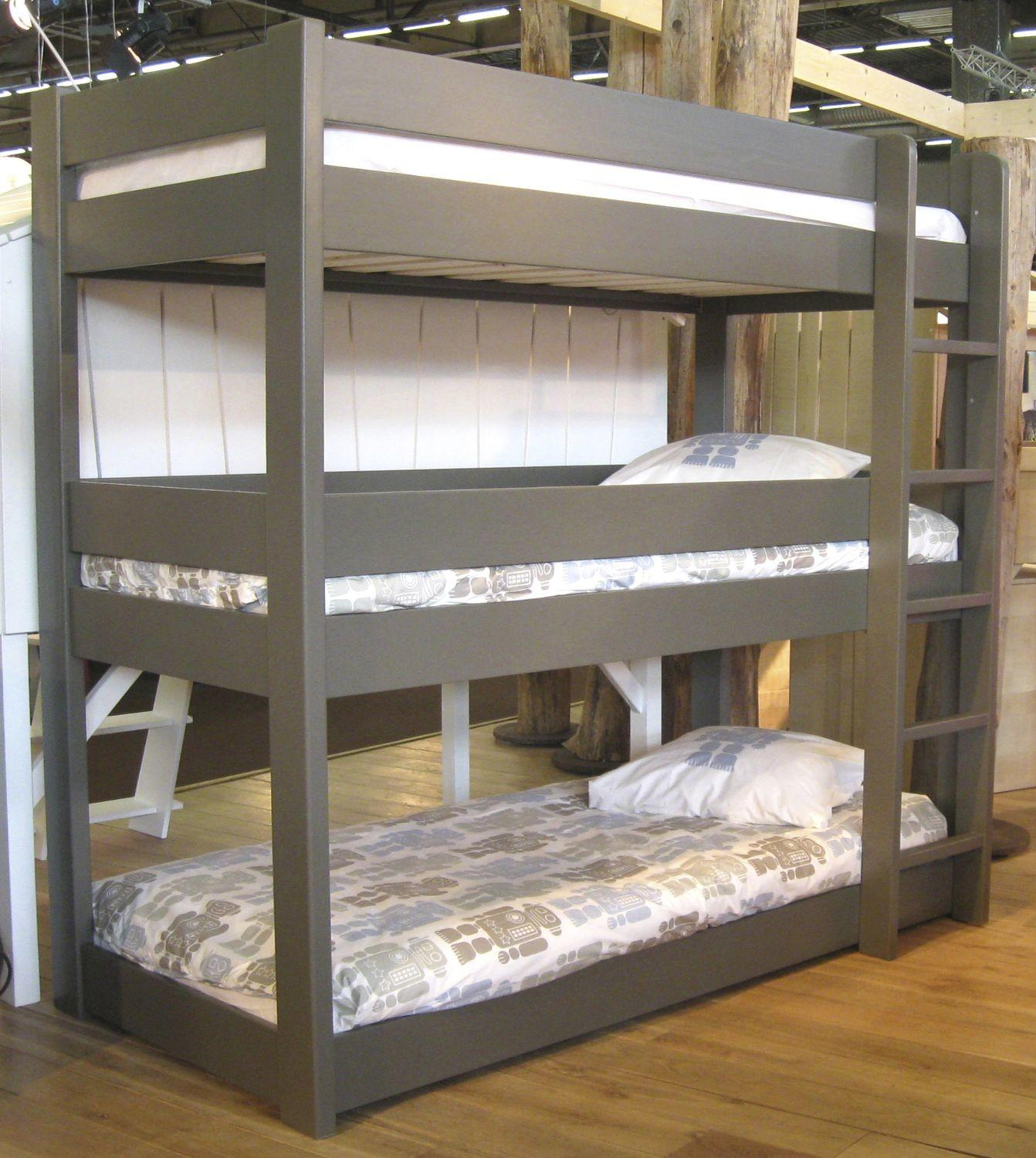 Cool Grey Finished Custom Wooden Triple Bunk Bed
