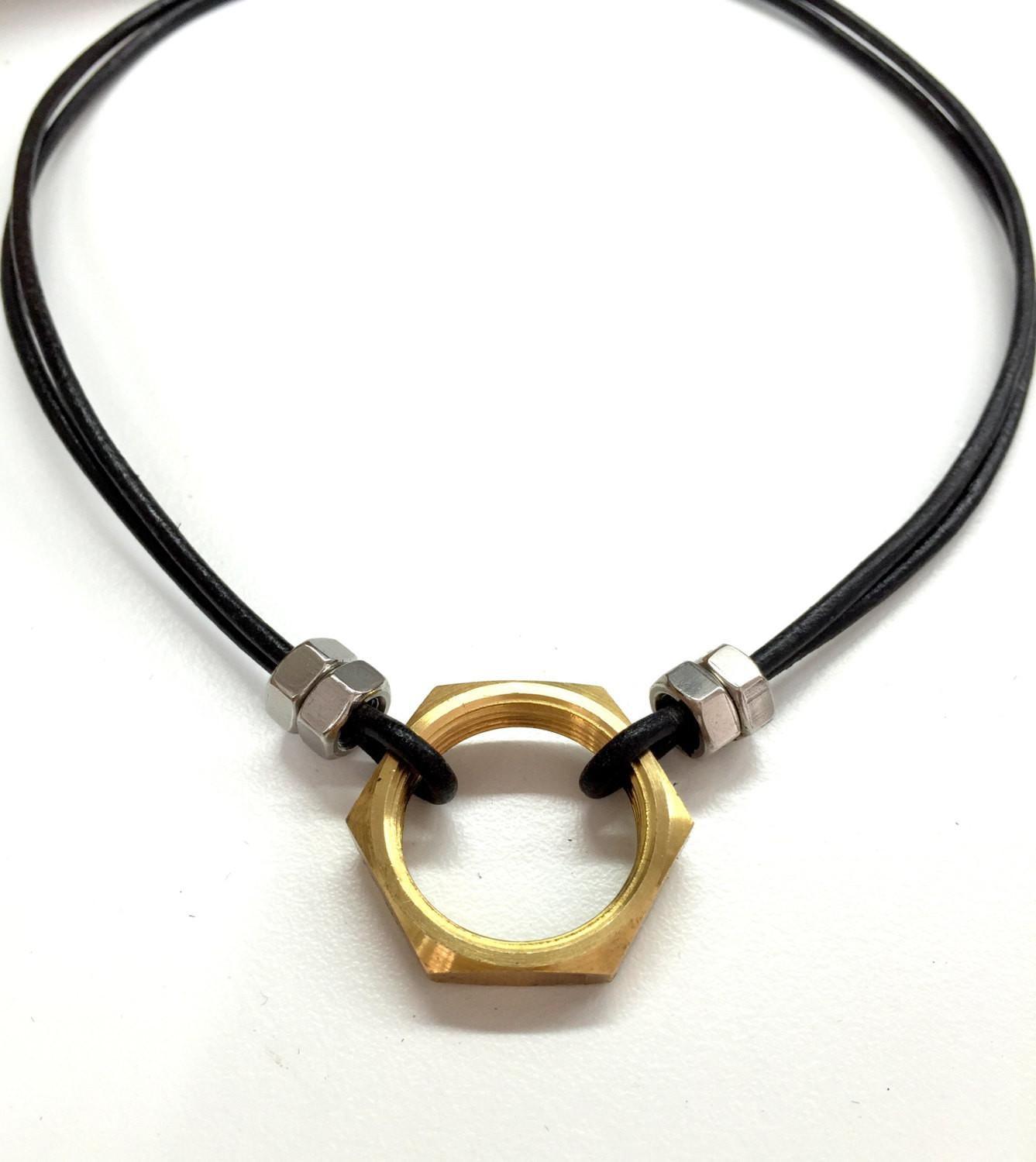 Cool Mens Necklace Hex Nut Black Leather