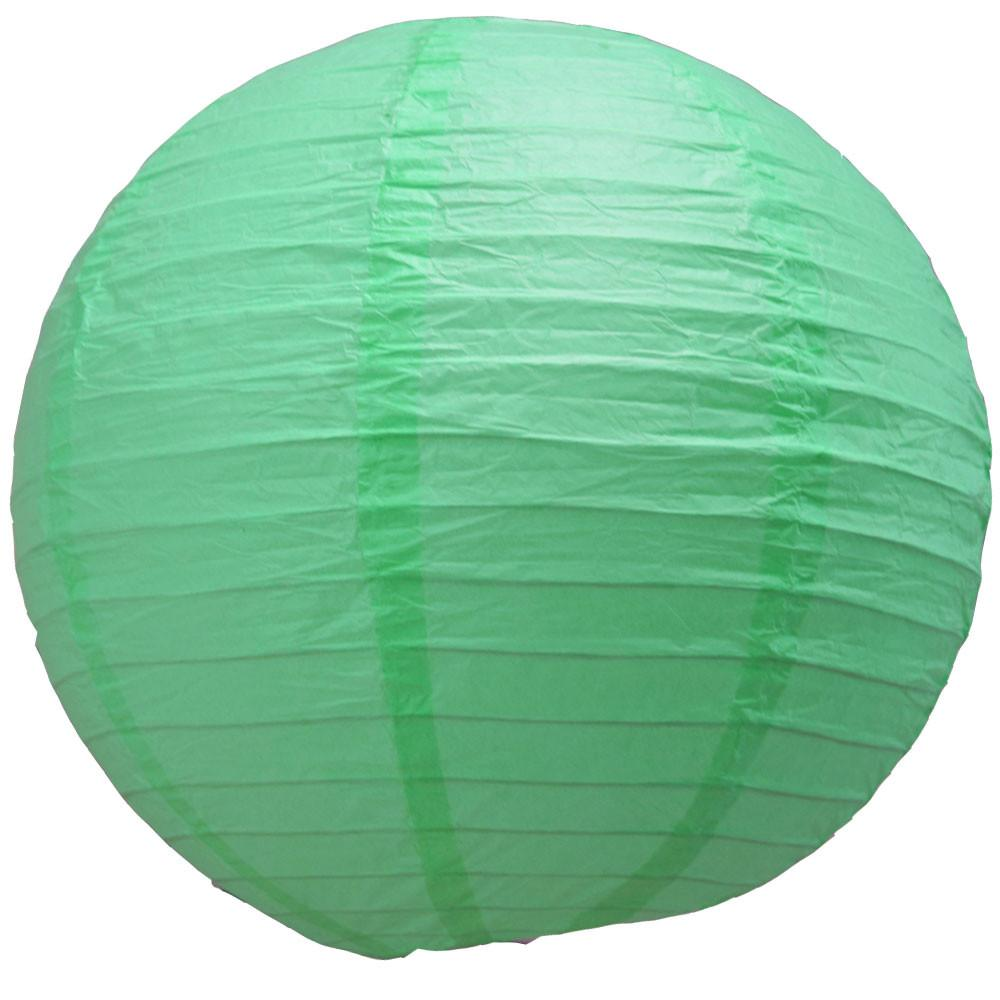 Cool Mint Green Round Paper Lantern Even Ribbing
