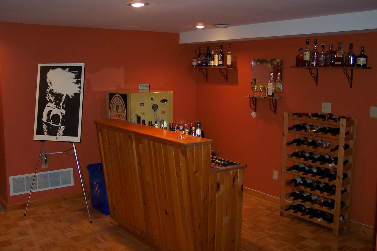 Cool Orange Accents Wall Paint Home Basement Bar