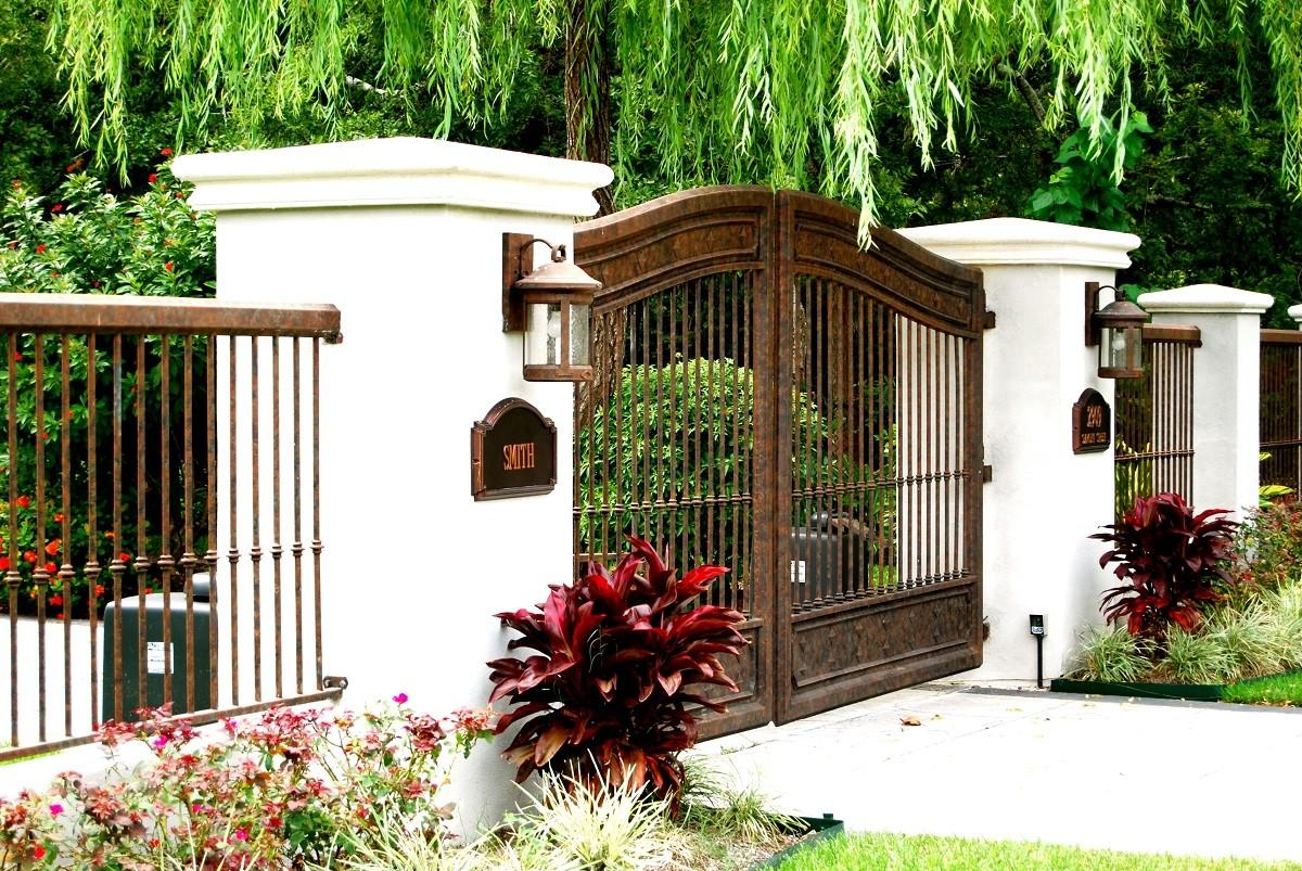 Cool Wrought Iron Fence Gate Design Idea Brown