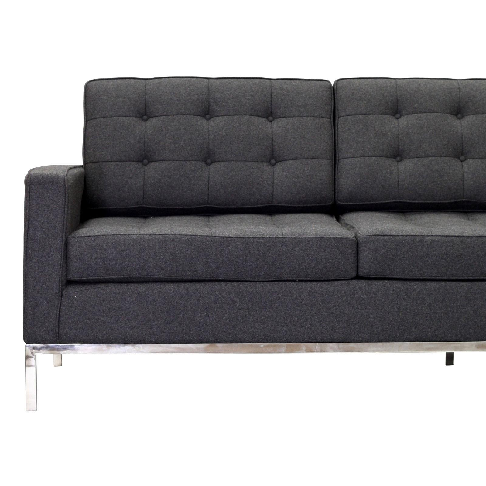 Copious Grey Tufted Sofa Simple Designs Added Chrome