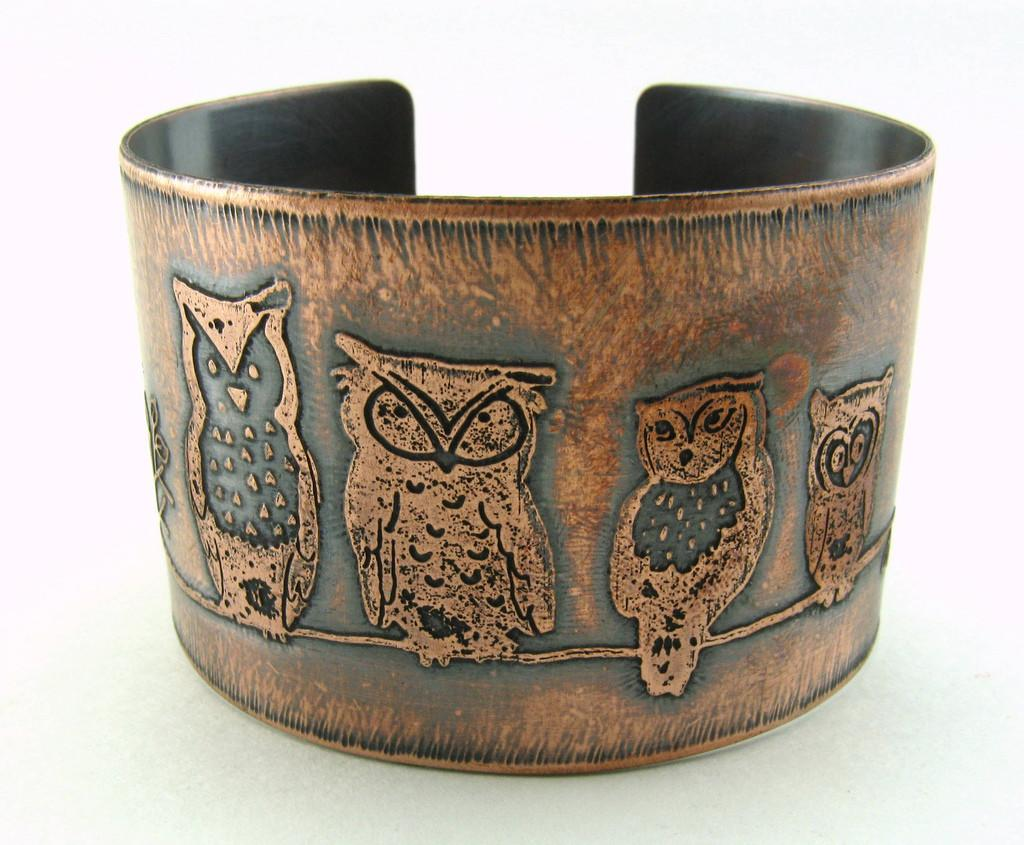 Copper Etched Owls Cuff Night Watchers Four