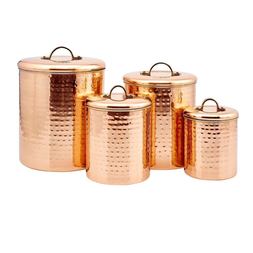 Copper Kitchen Canisters Set Containers Stainless Steel