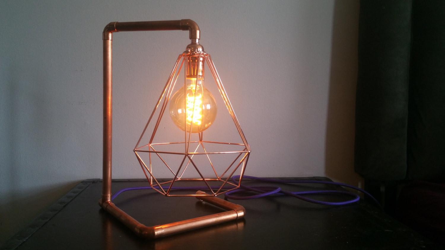 Copper Pipe Industrial Table Lamp Vintage