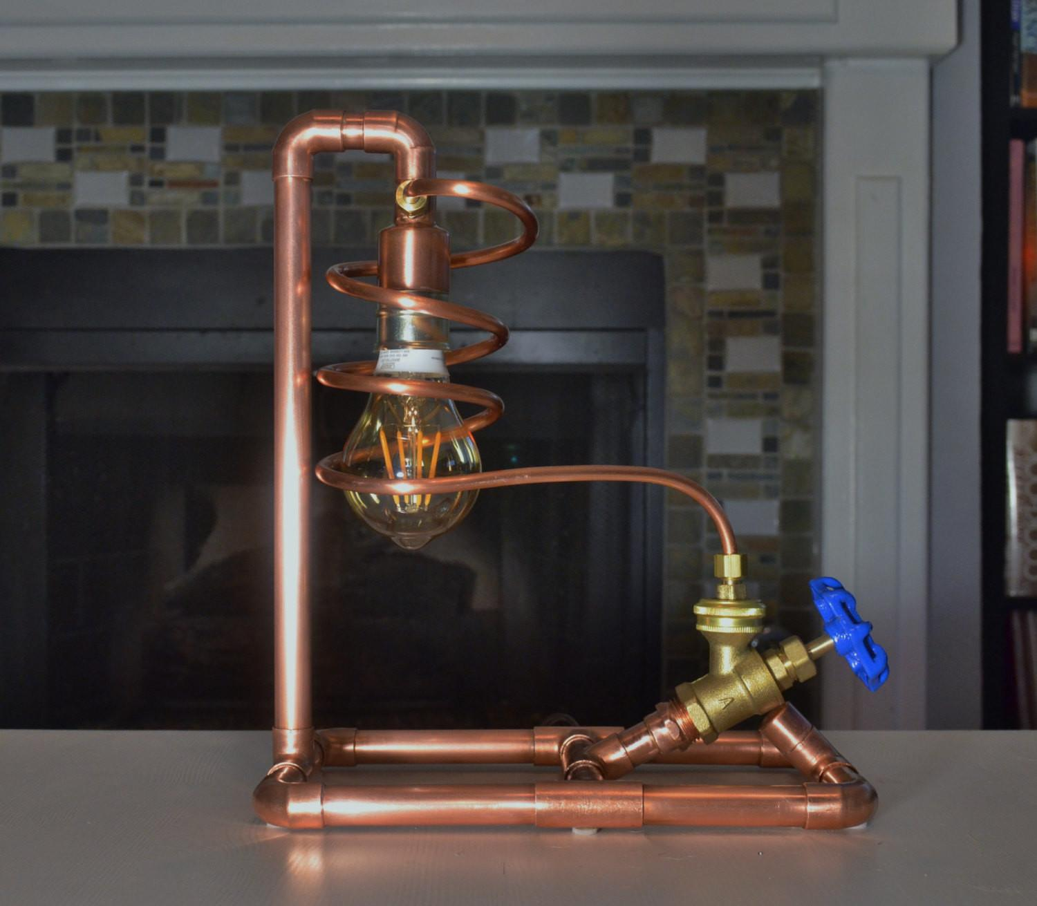 Copper Pipe Lamp Valve Switch Table Steampunk