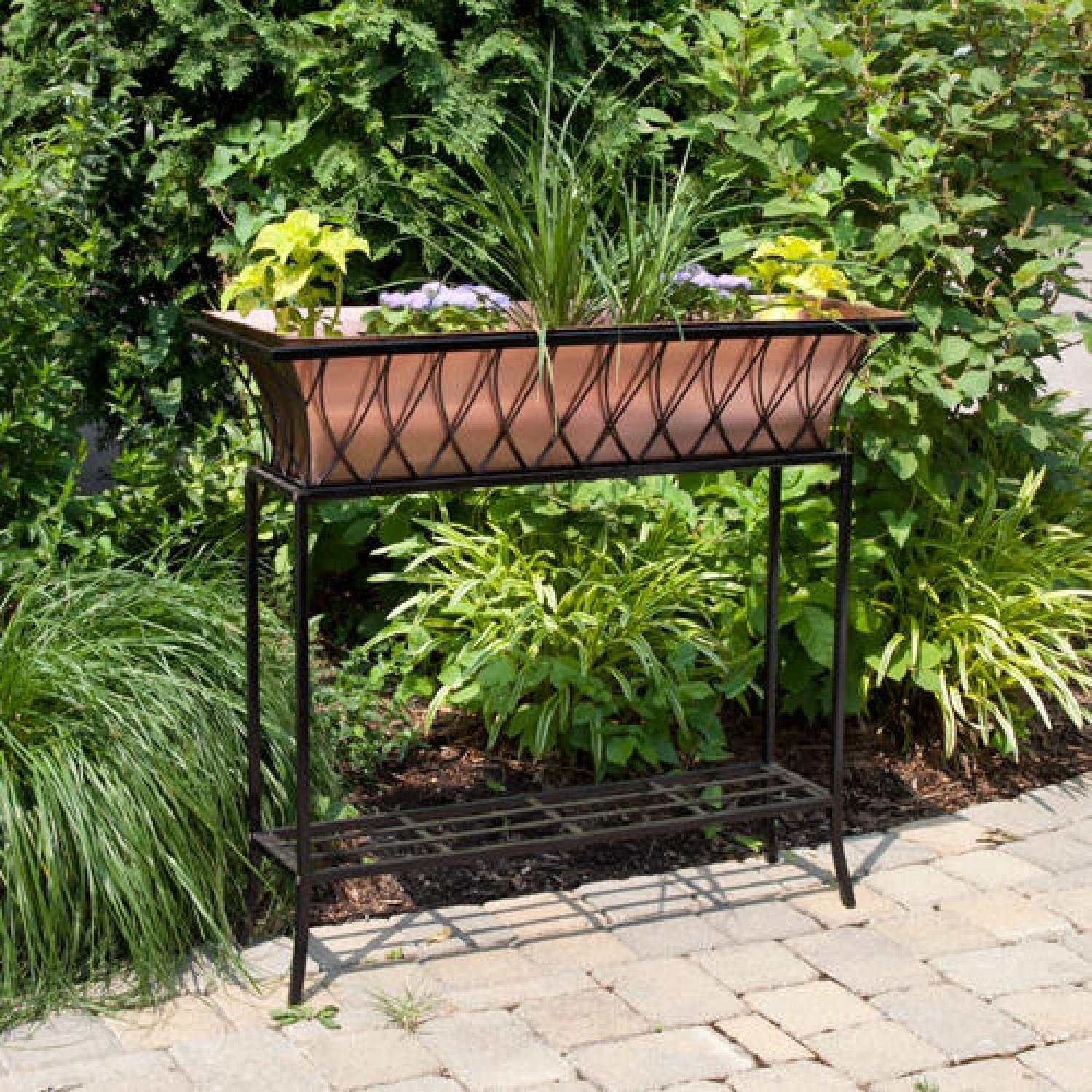 Copper Planter Lattice Frame Stand Antique