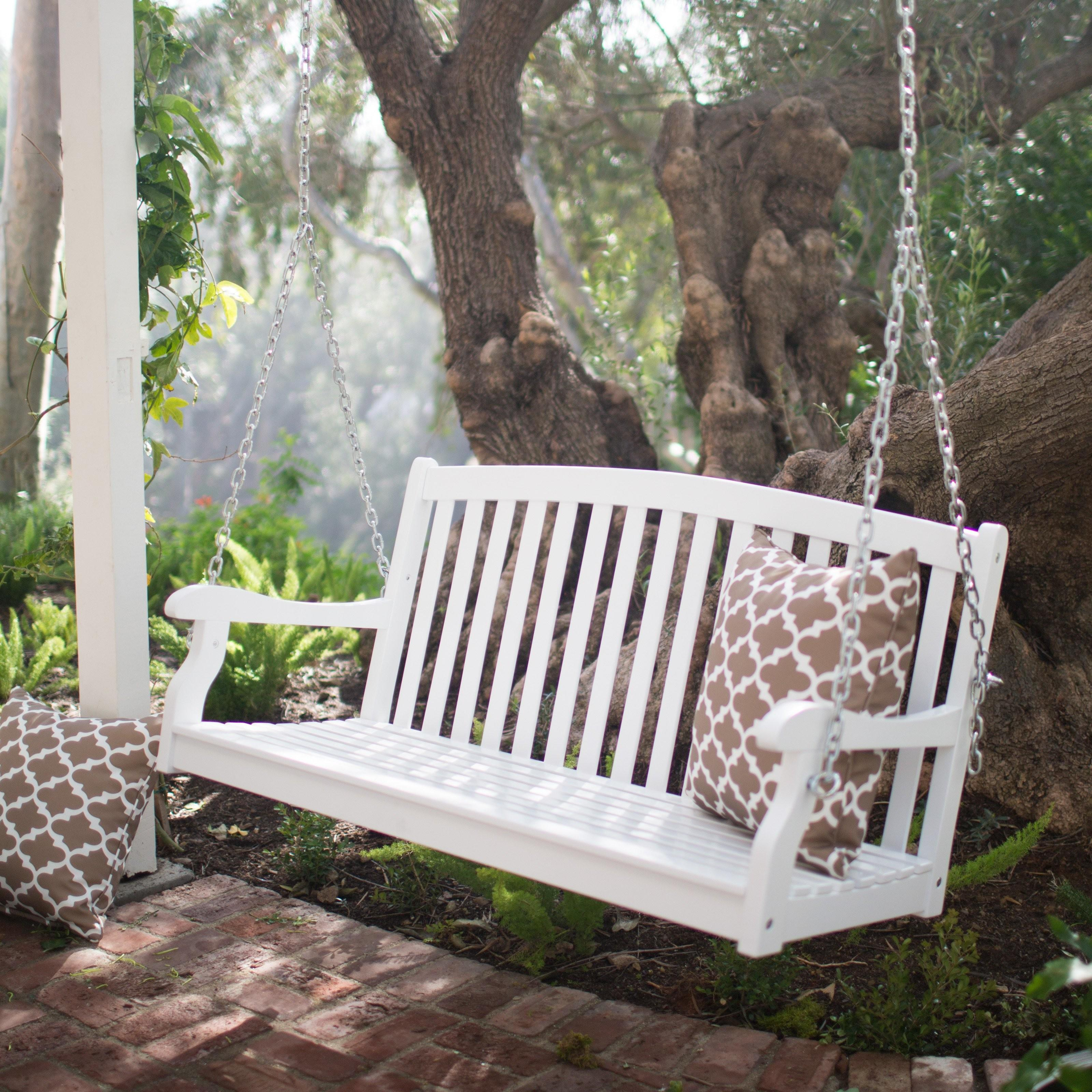 Coral Coast Pleasant Bay White Curved Back Porch Swing