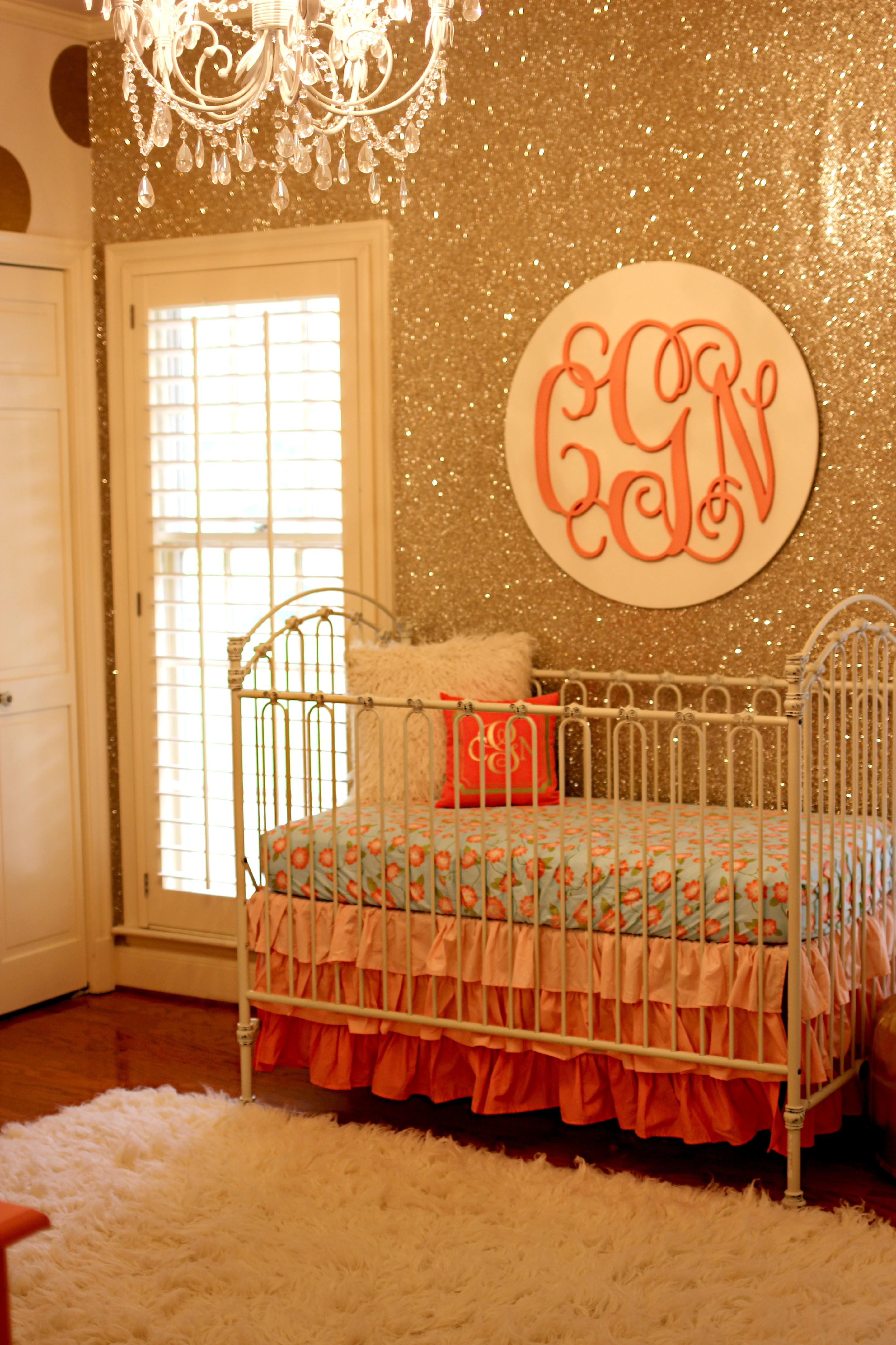 Coral Gold Glitter Nursery Project