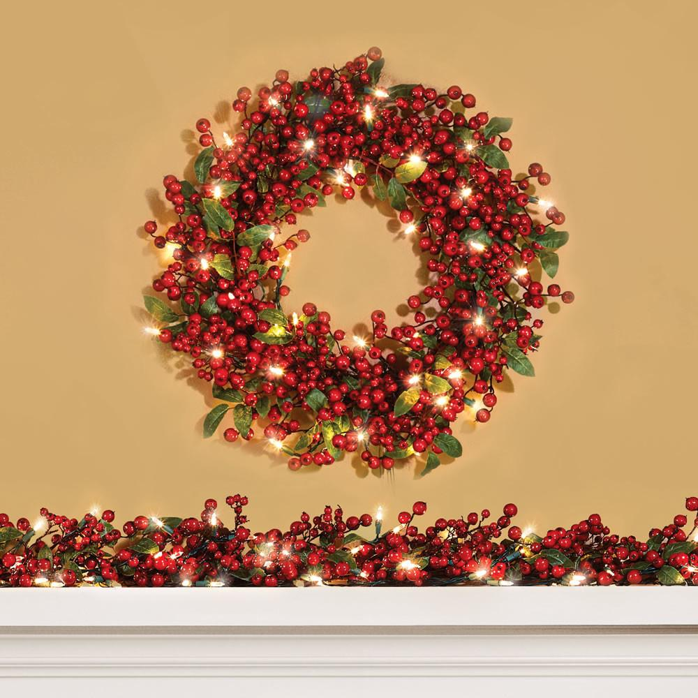 Cordless Prelit Holly Berry Holiday Garland