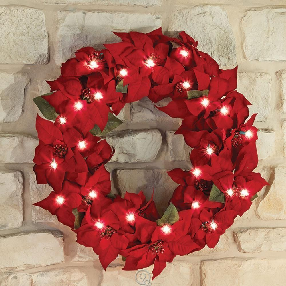 Cordless Prelit Poinsettia Christmas Holiday