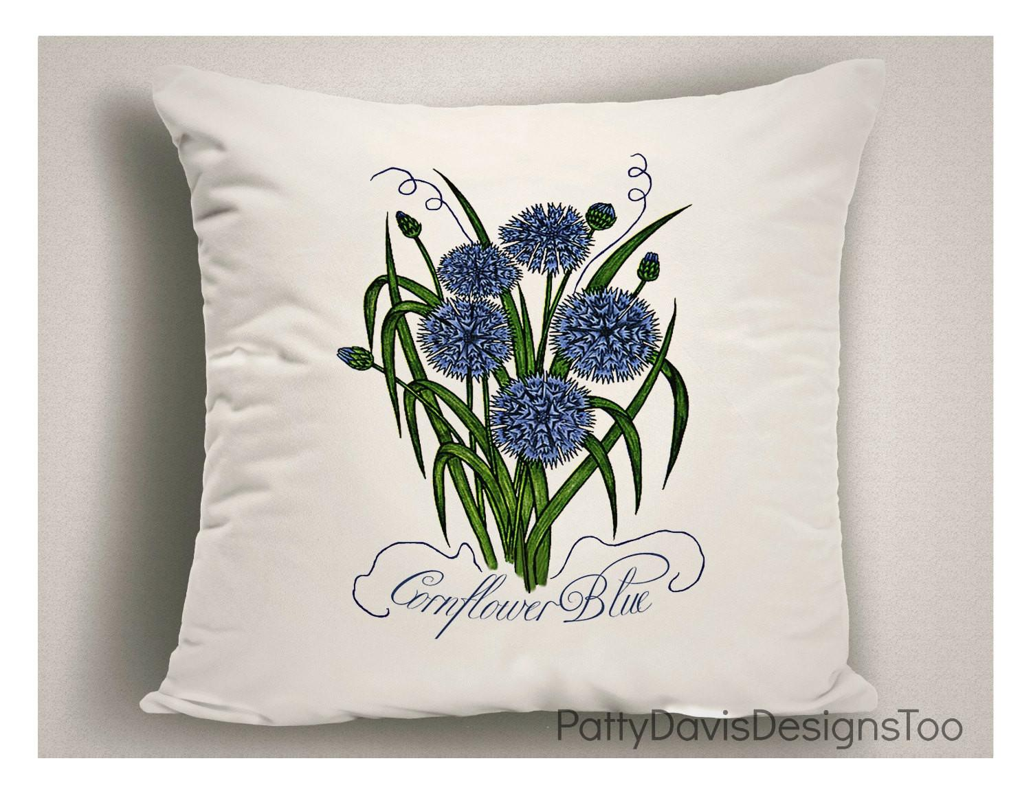 Corn Flower Blue Spring Pillows Throw
