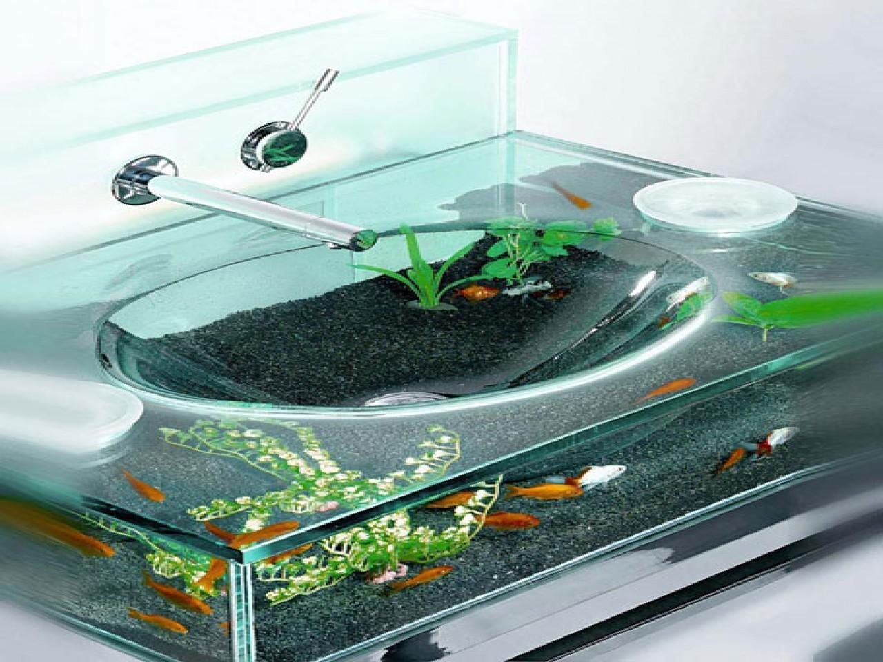 Corner Sink Vanity Fish Tank Cool