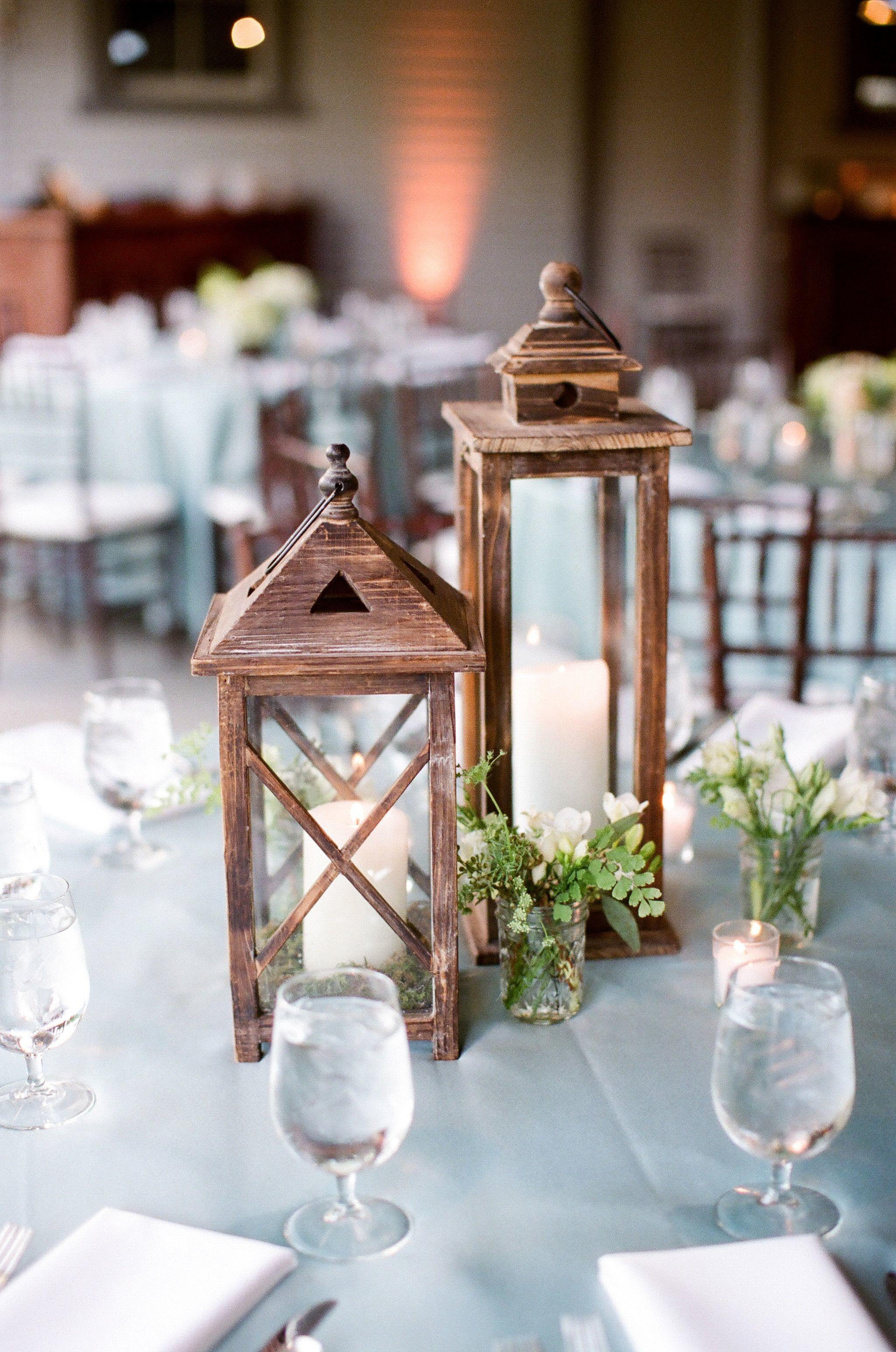 Cornflower Blue Tables Lantern Centerpieces