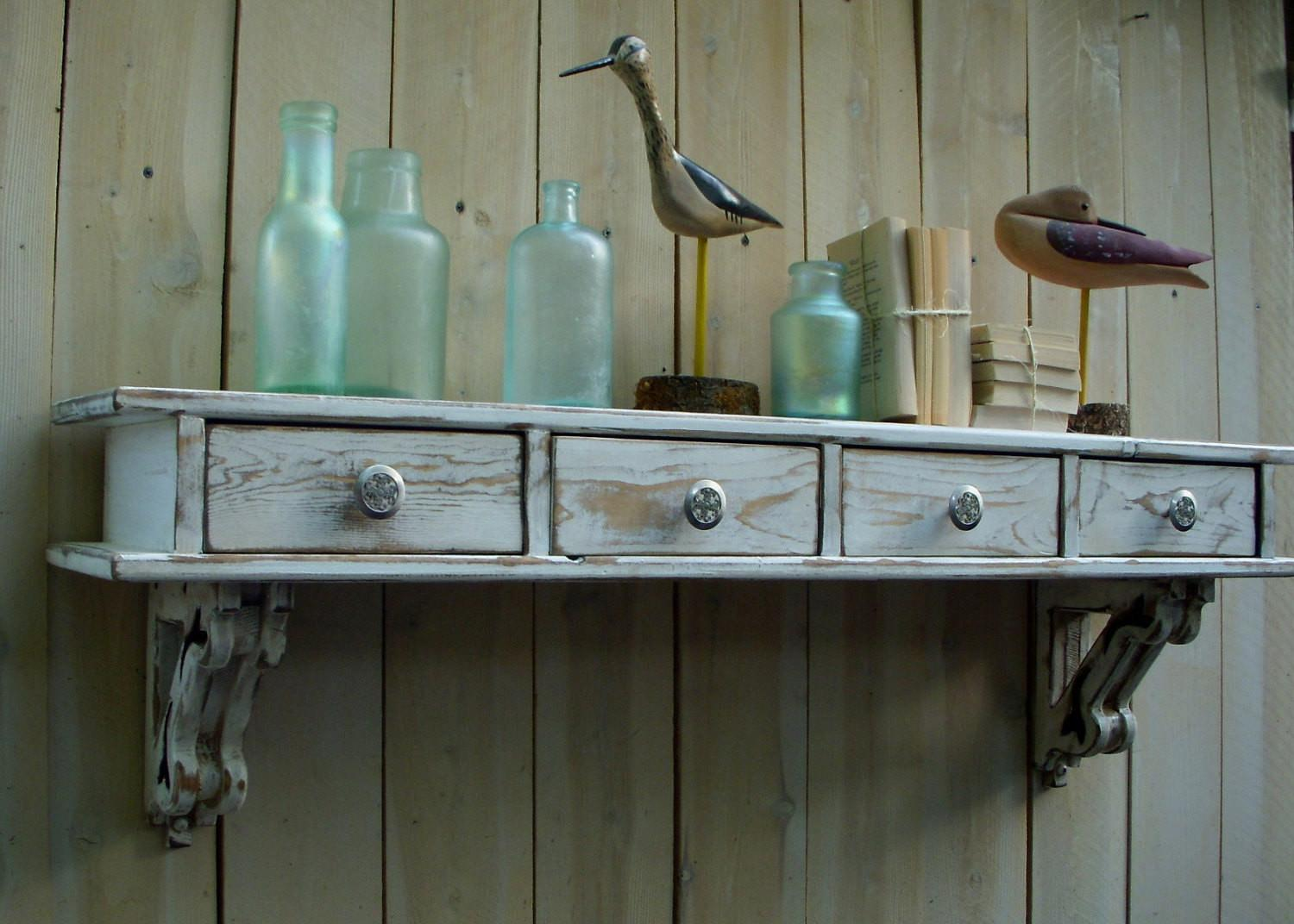 Cottage Chic Wall Shelf Drawers French Honeystreasures